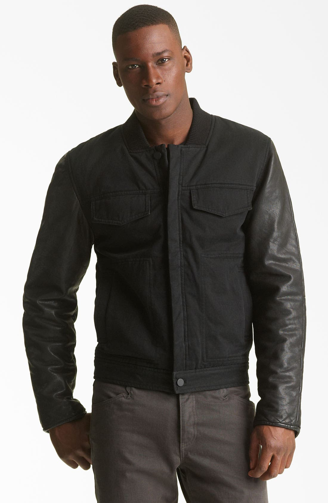 Alternate Image 1 Selected - T by Alexander Wang Cotton & Leather Jacket