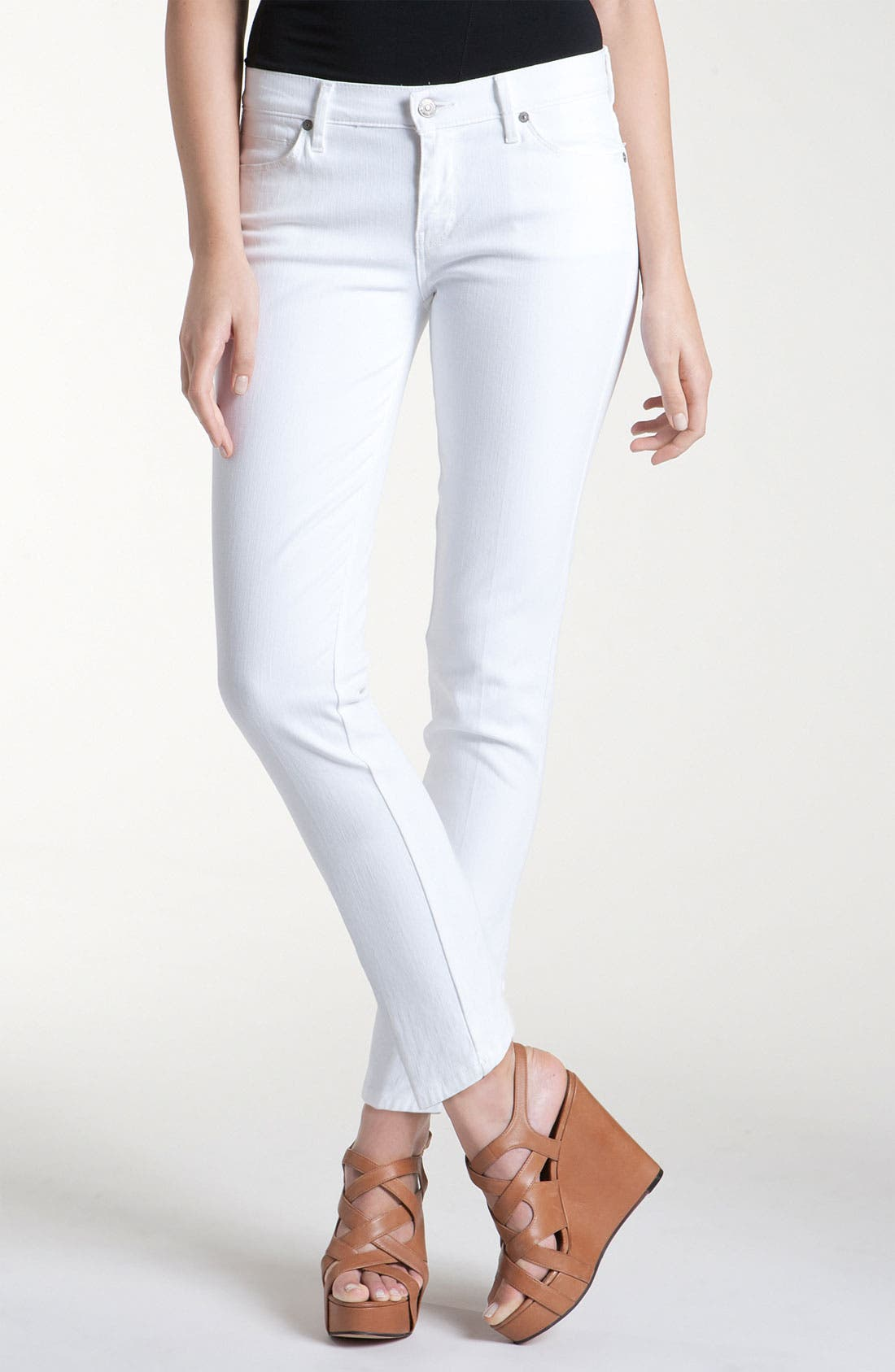 Main Image - 7 For All Mankind® Slim Leg Ankle Jeans (White Wash)