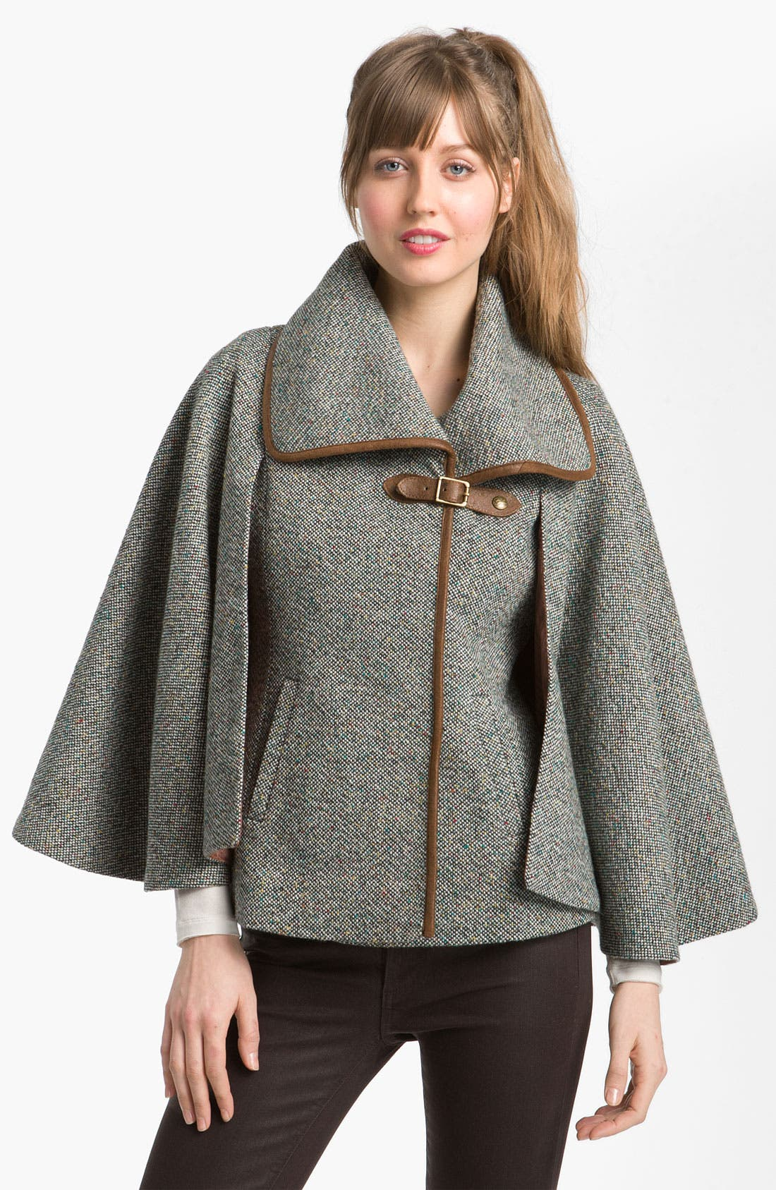 Main Image - GUESS Leather Trim Tweed Cape