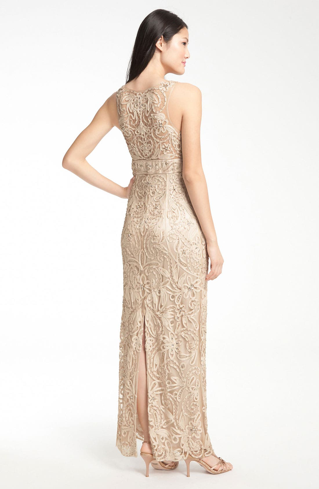 Alternate Image 2  - Sue Wong V-Neck Embroidery & Bead Overlay Gown