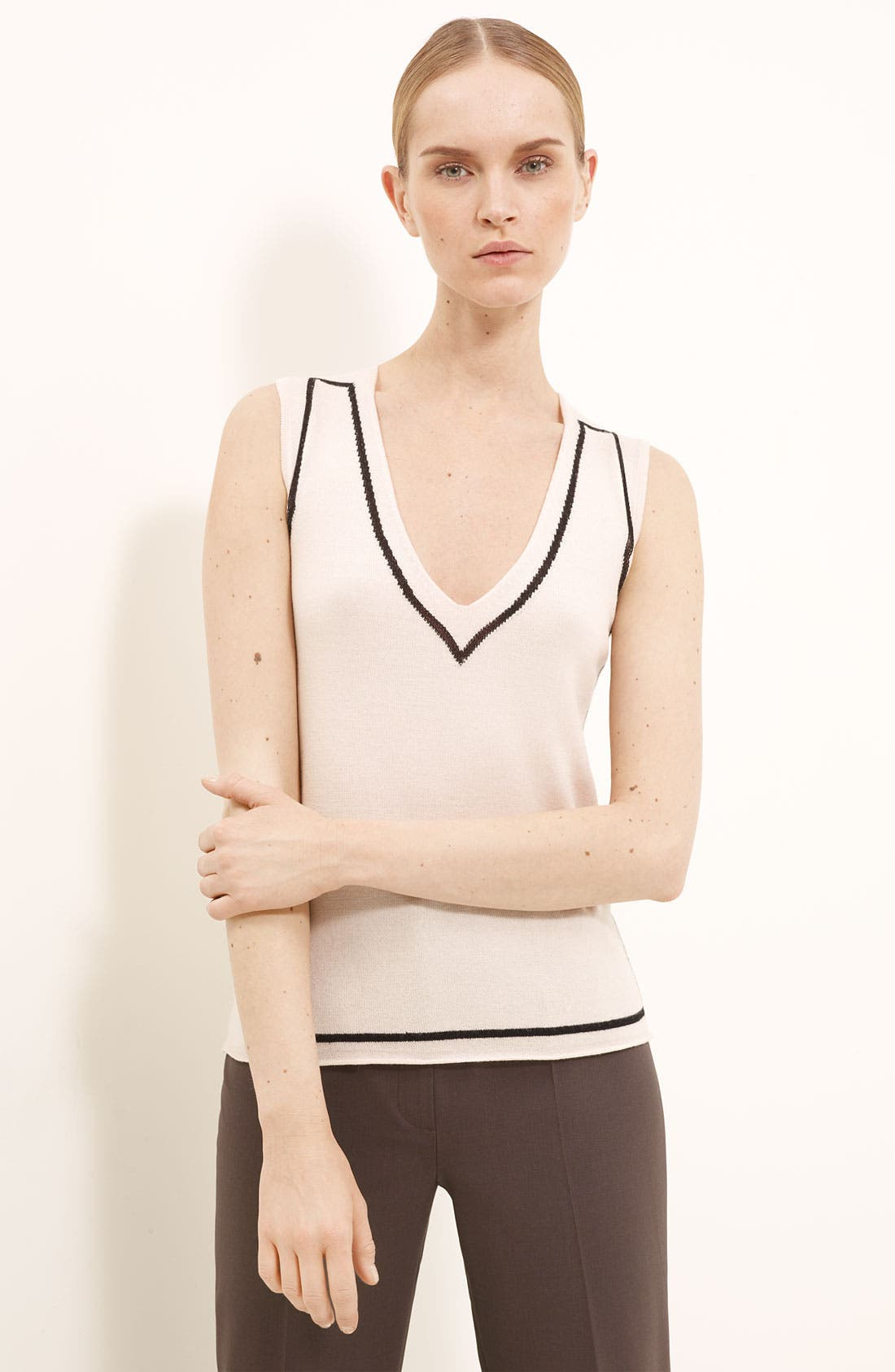 Main Image - Piazza Sempione Contrast Trim Knit Top