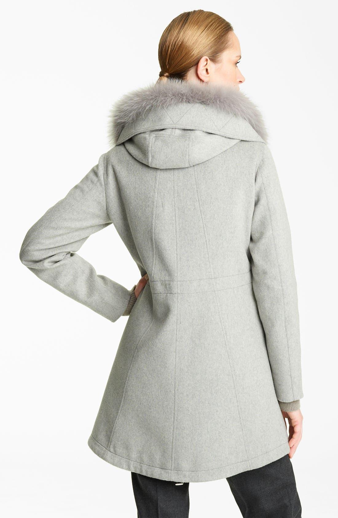 Alternate Image 2  - Fabiana Filippi Fox Fur Trim Wool Blend Coat