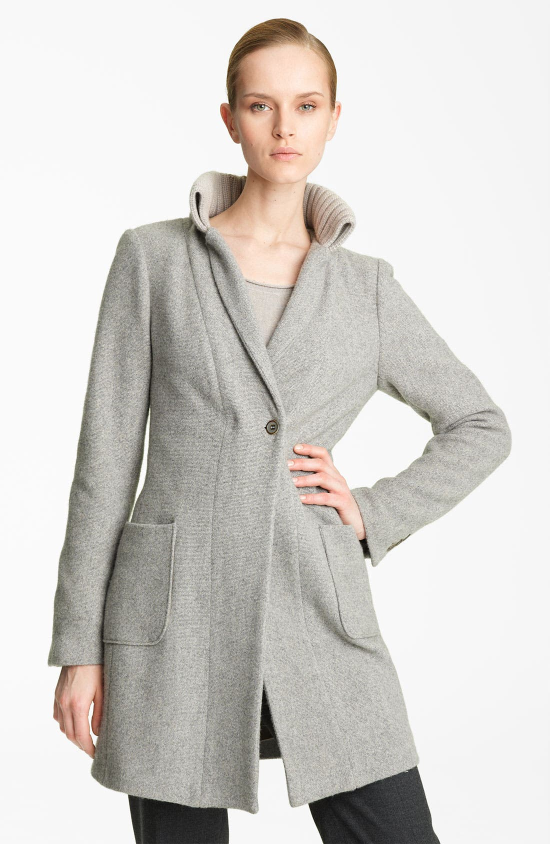 Alternate Image 1 Selected - Fabiana Filippi Knit Collar Wool Blend Coat