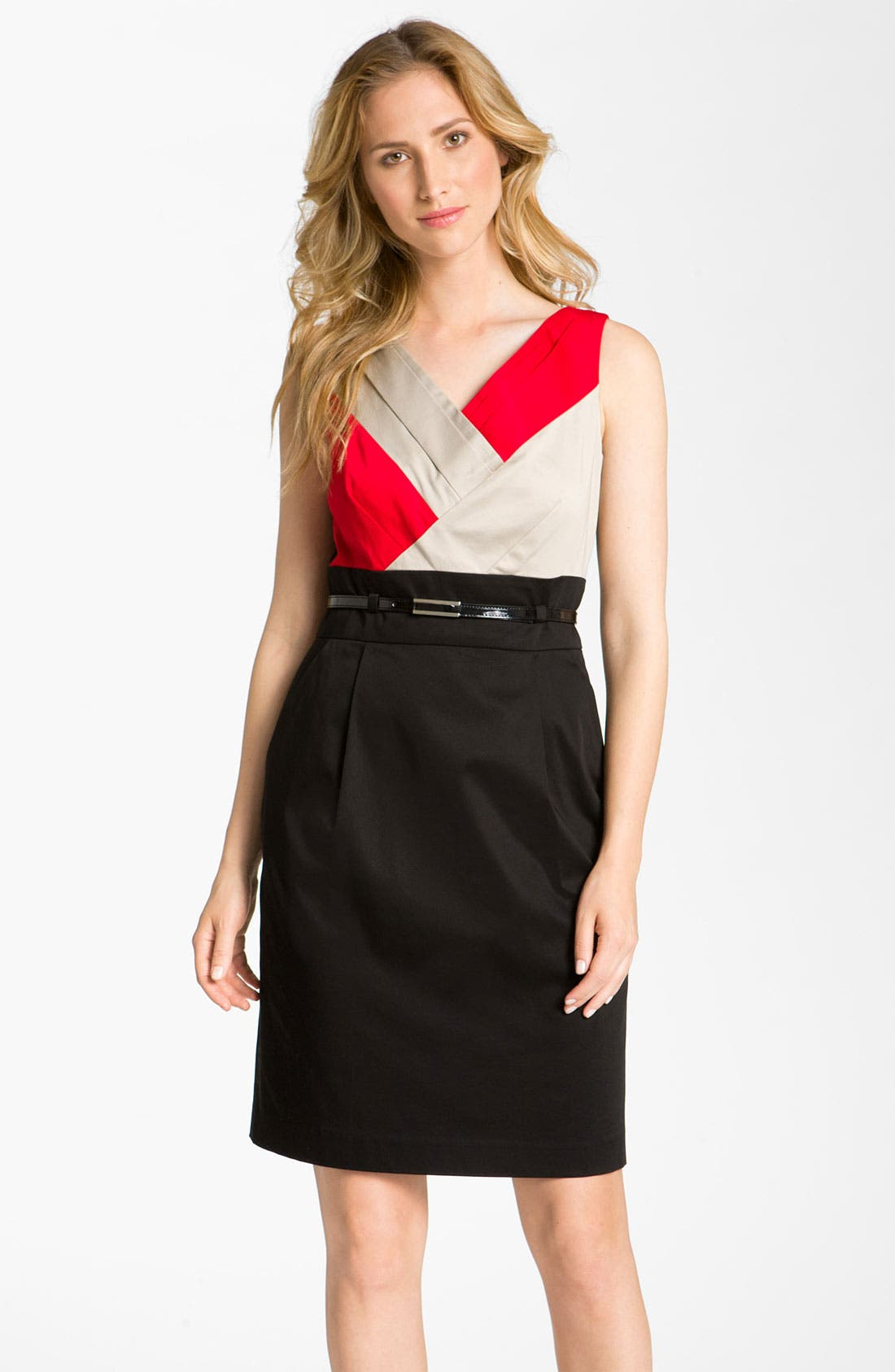 Main Image - Tahari by Arthur S. Levine Belted Colorblock Cotton Dress