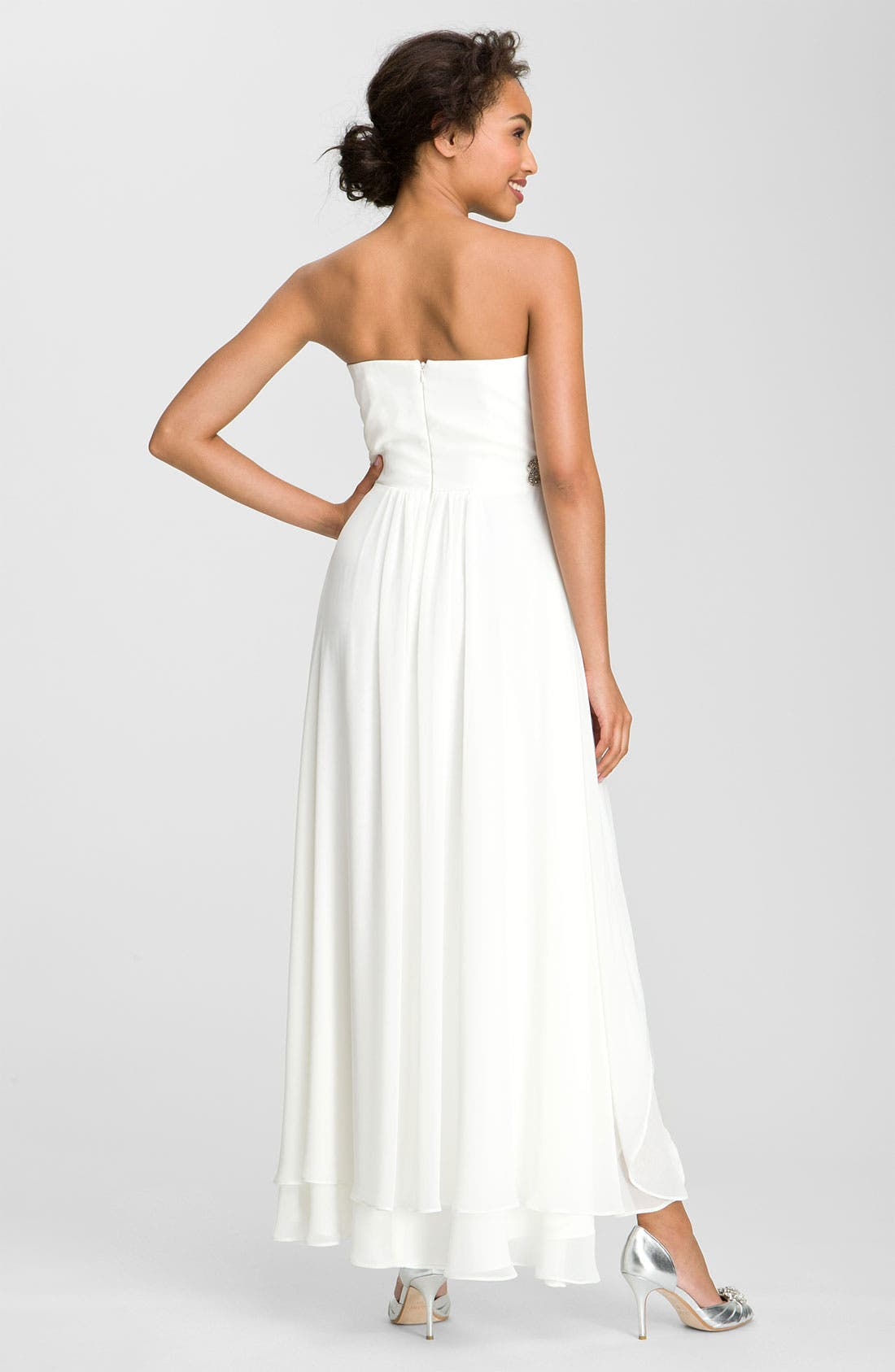 Alternate Image 2  - Xscape Embellished Waist Chiffon Gown (Online Only)