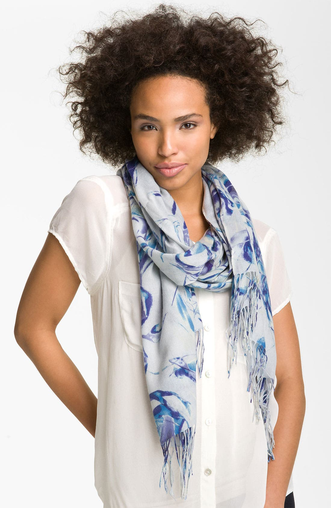 Main Image - Nordstrom 'Roses' Wool & Cashmere Scarf