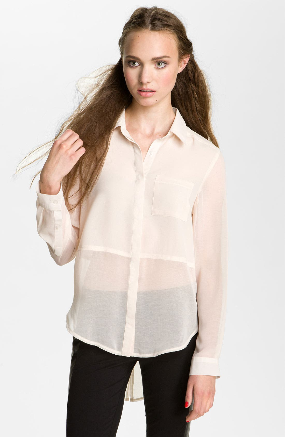 Main Image - Lush Sheer Panel High/Low Shirt (Juniors)