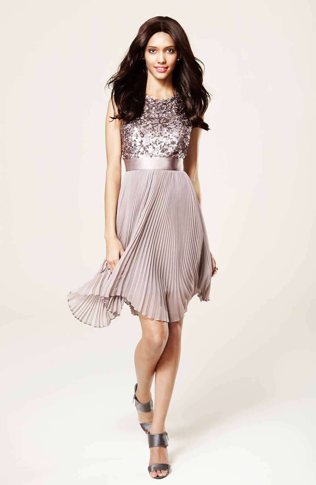 Alternate Image 4  - Eliza J Sequin Bodice Pleated Chiffon Dress