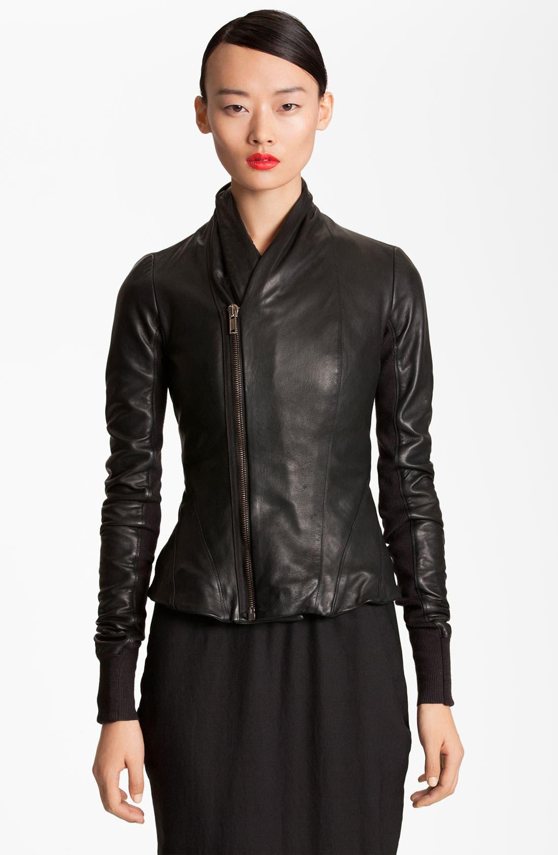 Main Image - Rick Owens Seamed Leather Jacket