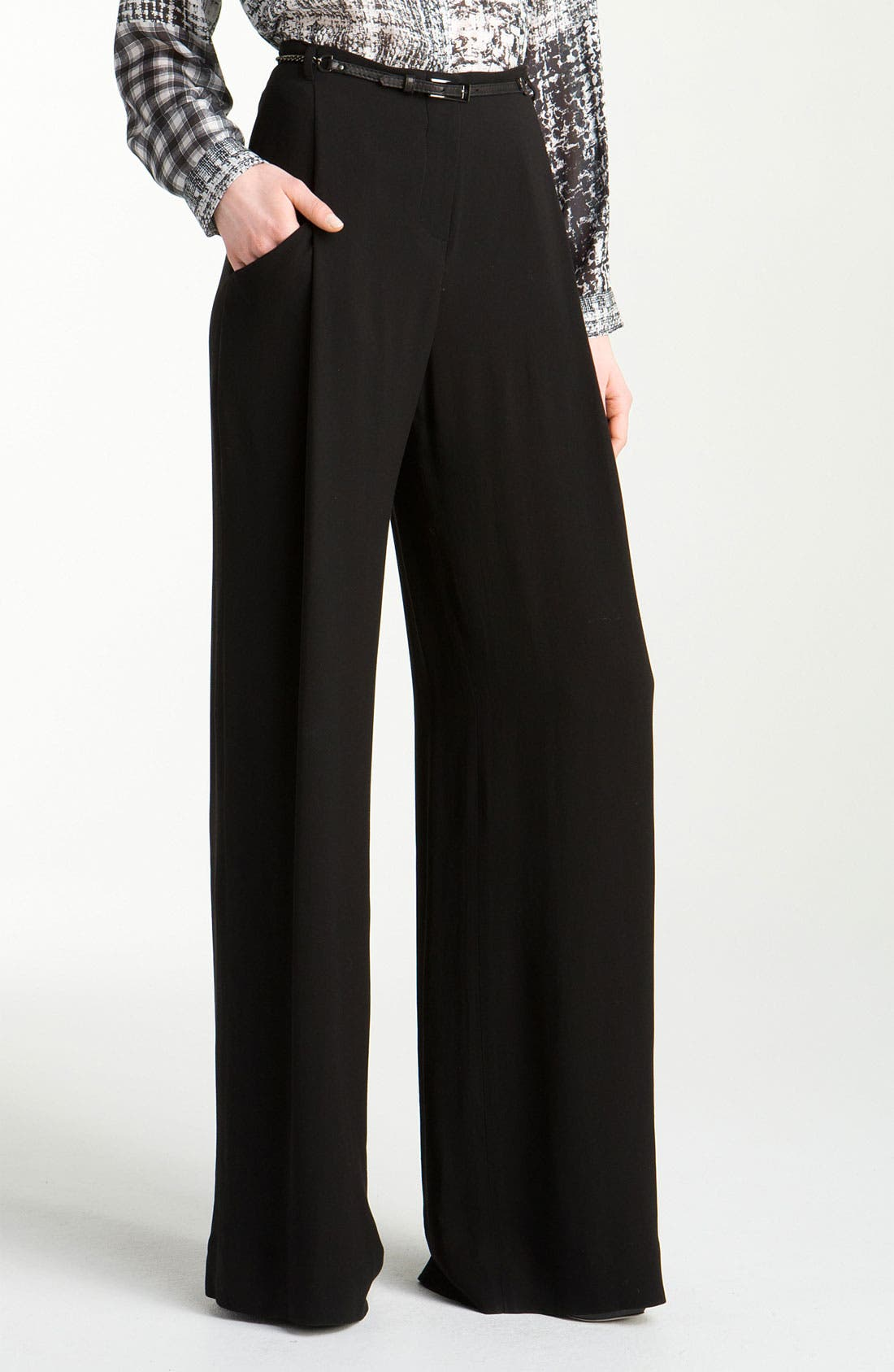 Main Image - L'AGENCE 'Floor Sweeper' Belted Wide Leg Pants