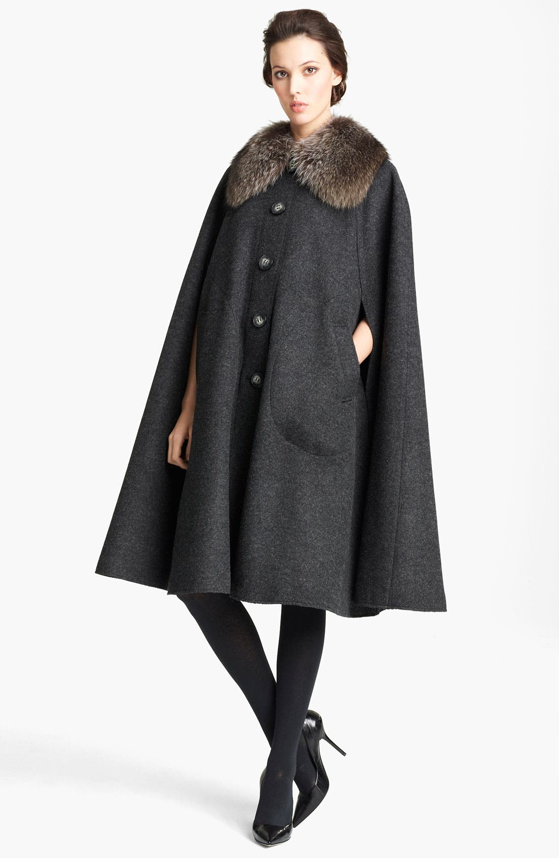 Alternate Image 1 Selected - Dolce&Gabbana Genuine Fur Collar Wool Cape