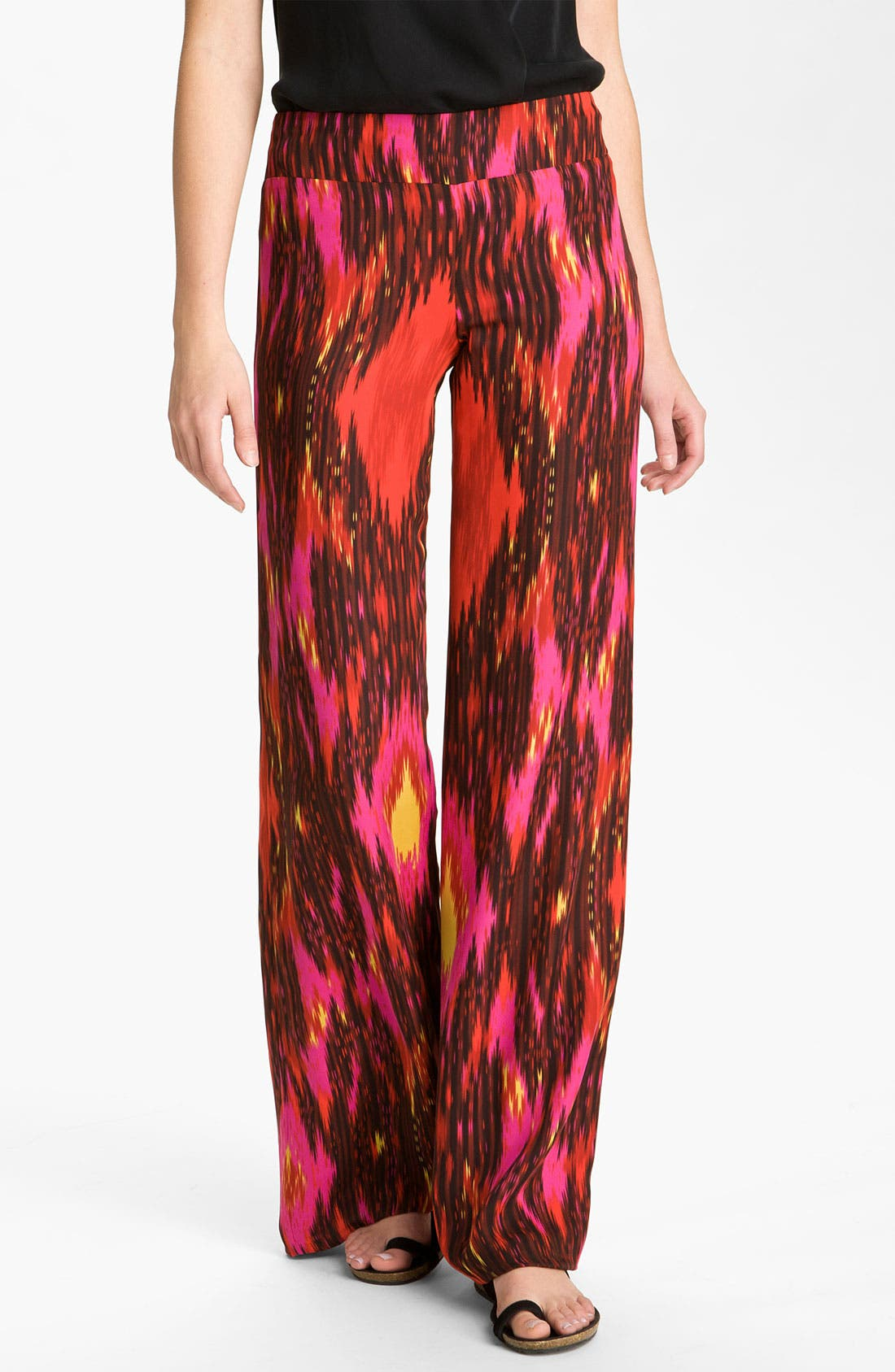 Main Image - Haute Hippie Ikat Silk Wide Leg Pants