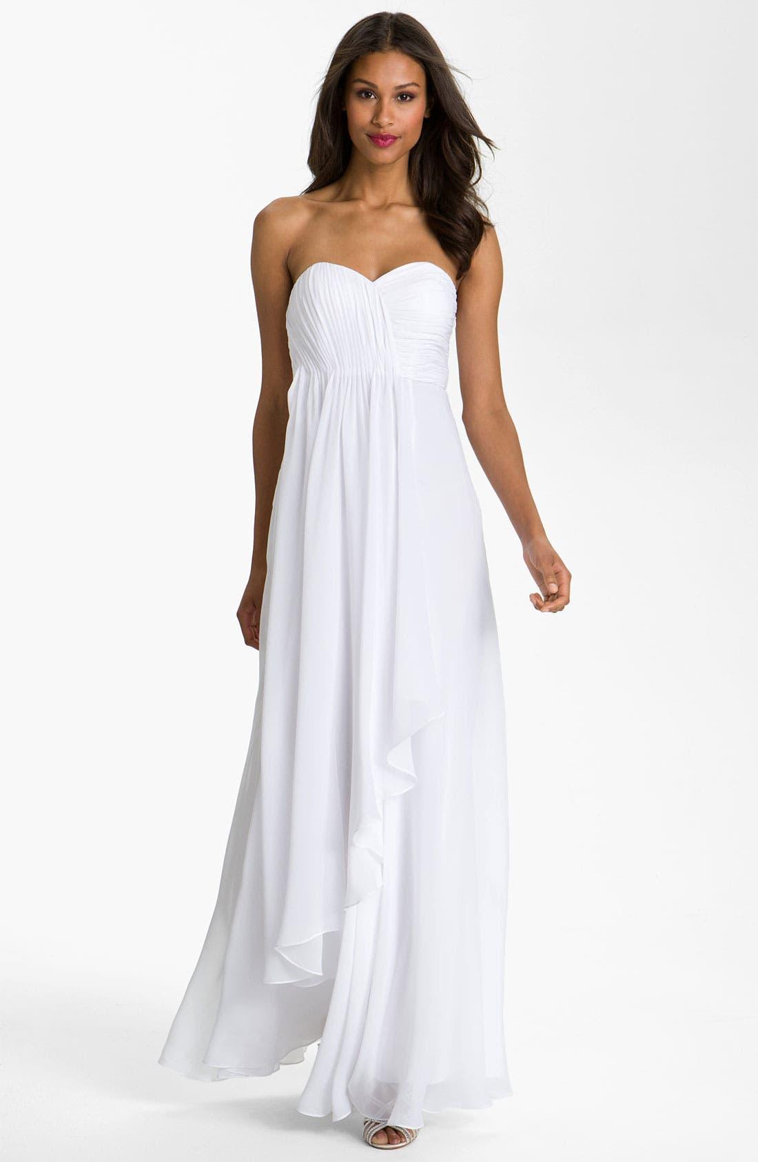 Alternate Image 1 Selected - Dalia MacPhee Strapless Ruffle Front Chiffon Gown