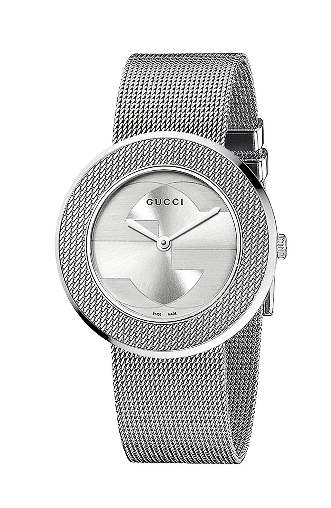 Alternate Image 1 Selected - Gucci 'U-Play' Round Mesh Watch, 35mm