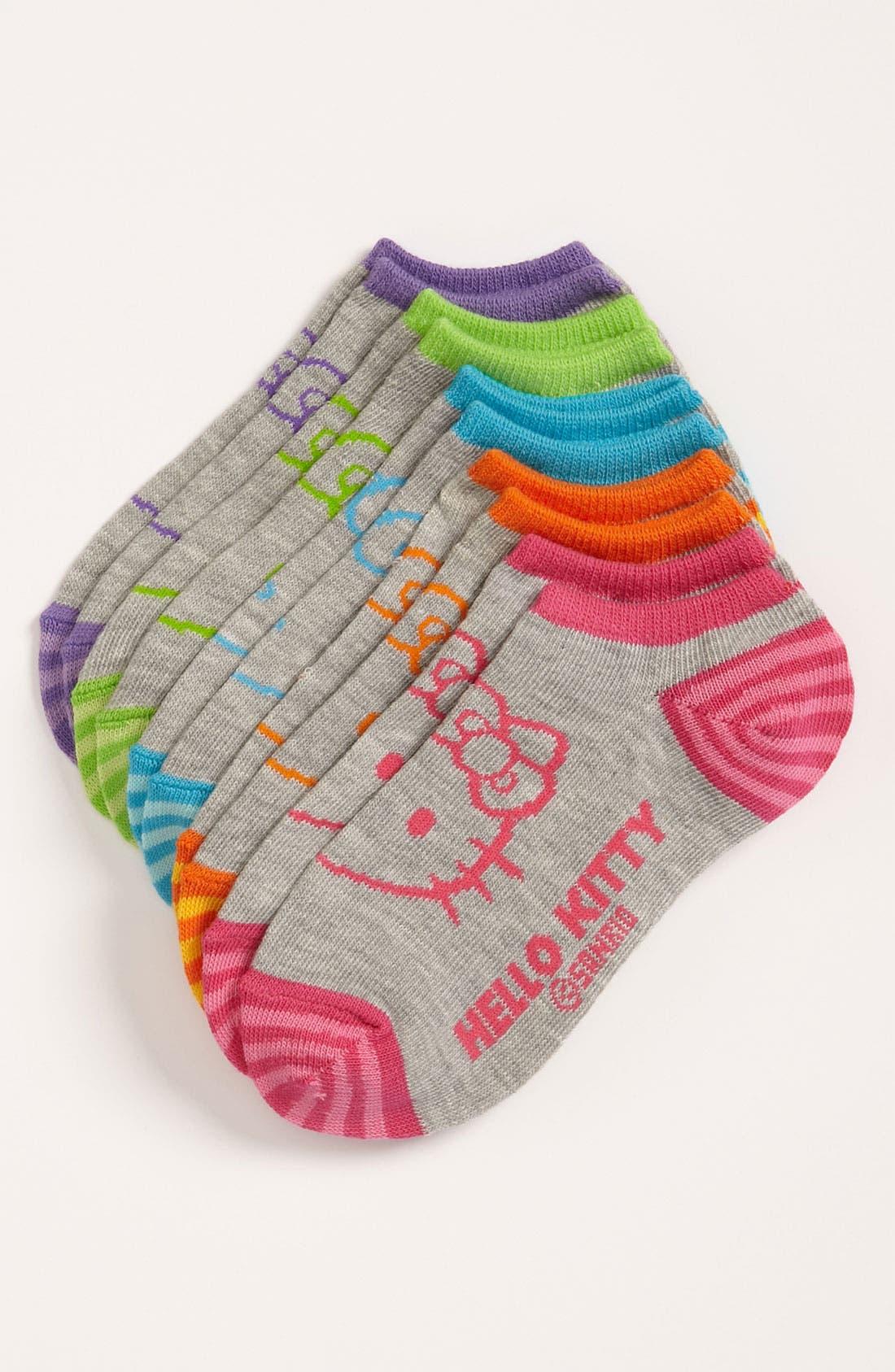 Alternate Image 1 Selected - Hello Kitty® No-Show Socks (5-Pack) (Toddler Girls & Little Girls)