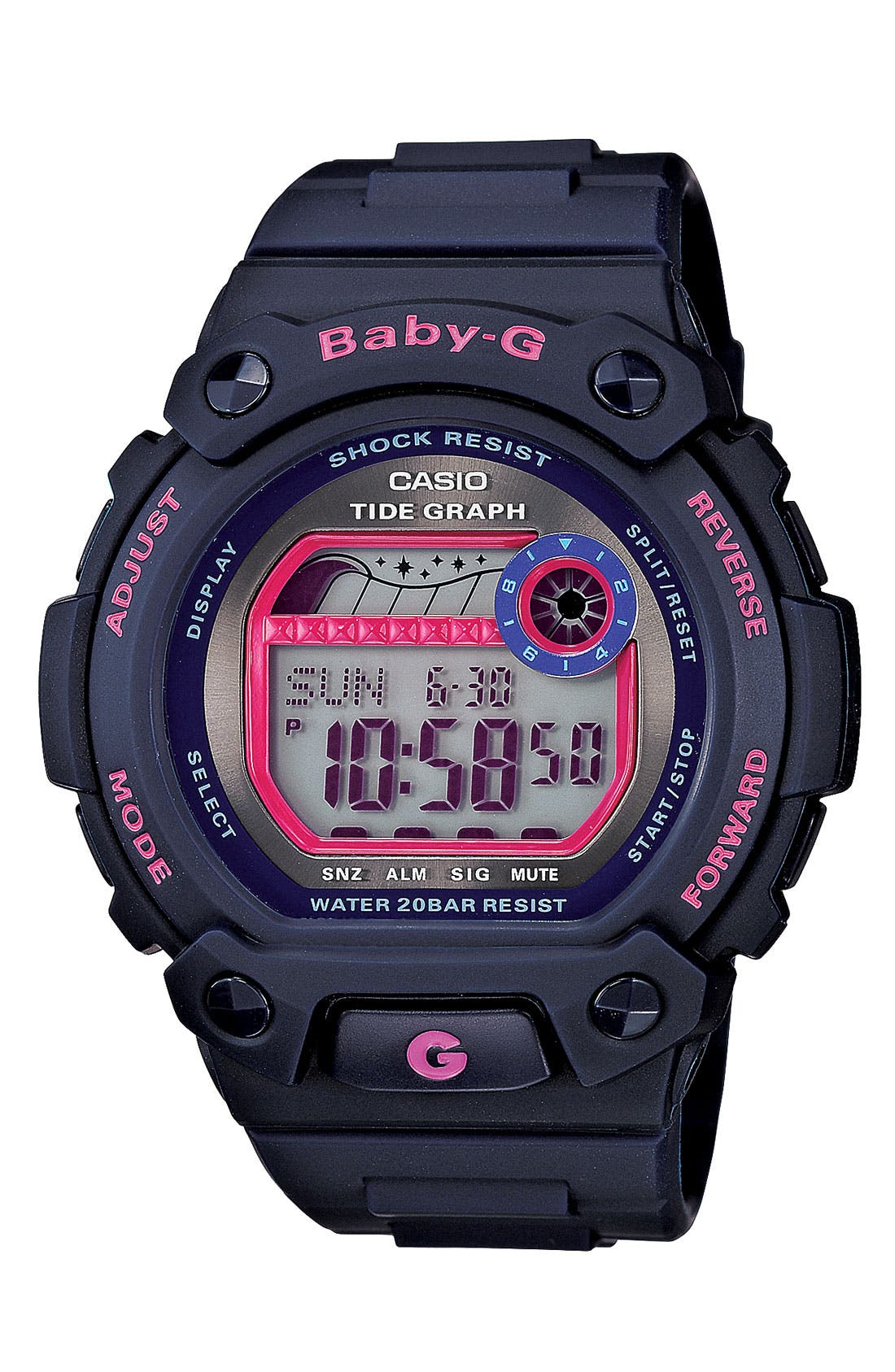 Alternate Image 1 Selected - Baby-G 'Tidegraph' Digital Watch, 44mm x 42mm