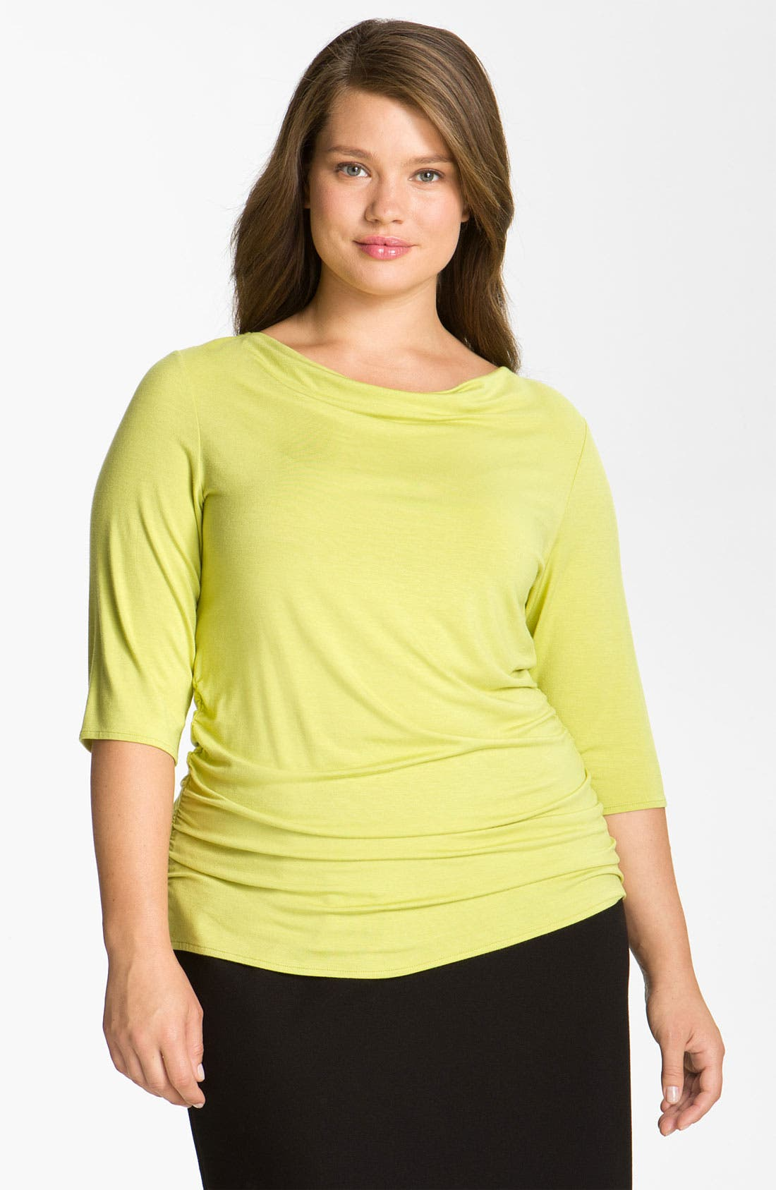 Alternate Image 1 Selected - Sejour Shirred Tee (Plus Size)