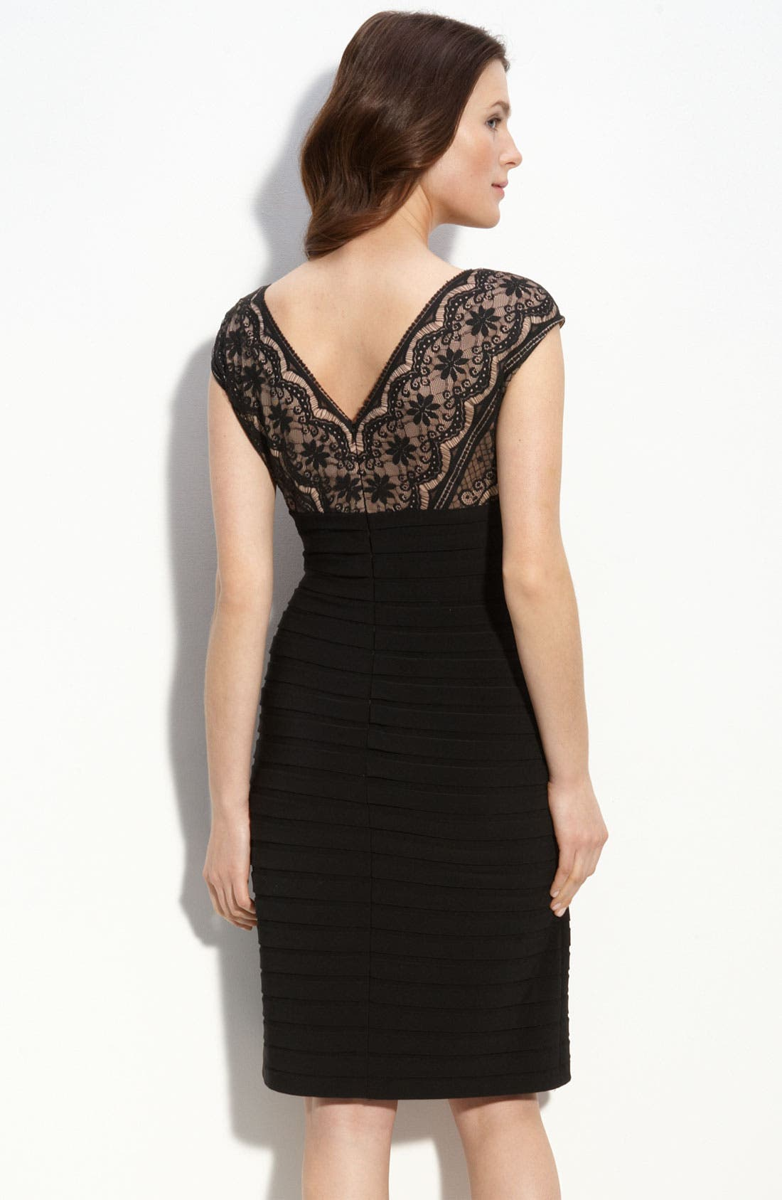 Alternate Image 2  - Adrianna Papell Lace & Shutter Pleat Dress (Petite)