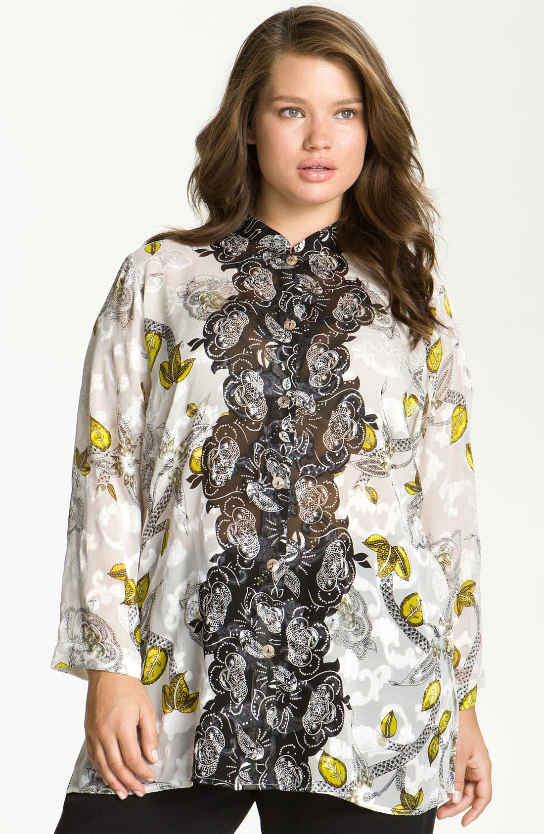 Main Image - Citron Print Silk Blend Jacket (Plus)