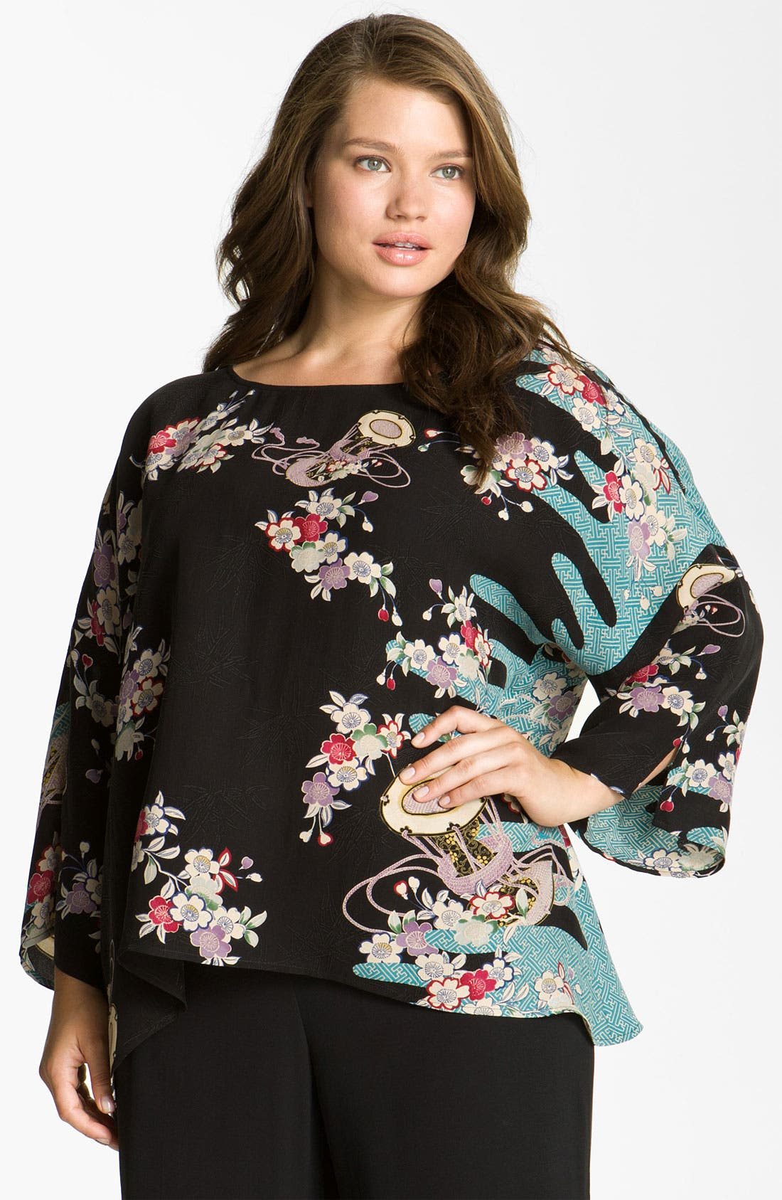 Alternate Image 1 Selected - Citron Floral Print Silk Tunic (Plus)