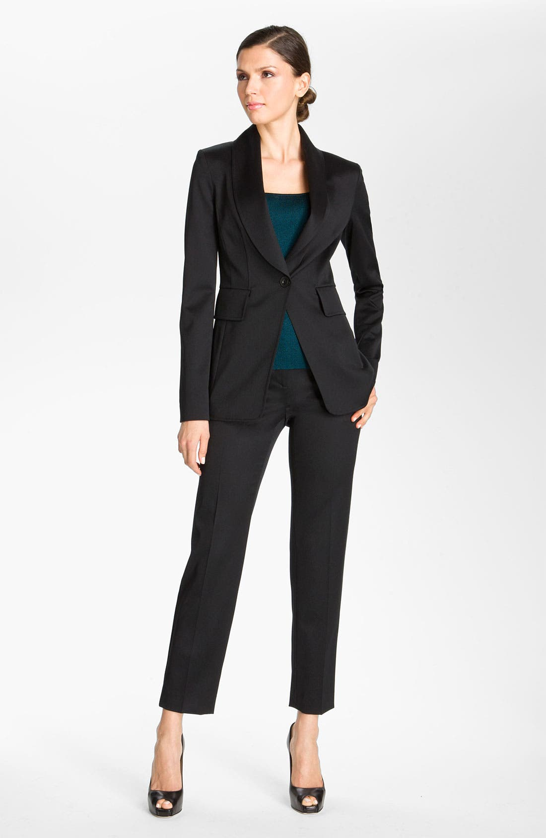 Main Image - St. John Collection Wool Venetian Fitted Blazer