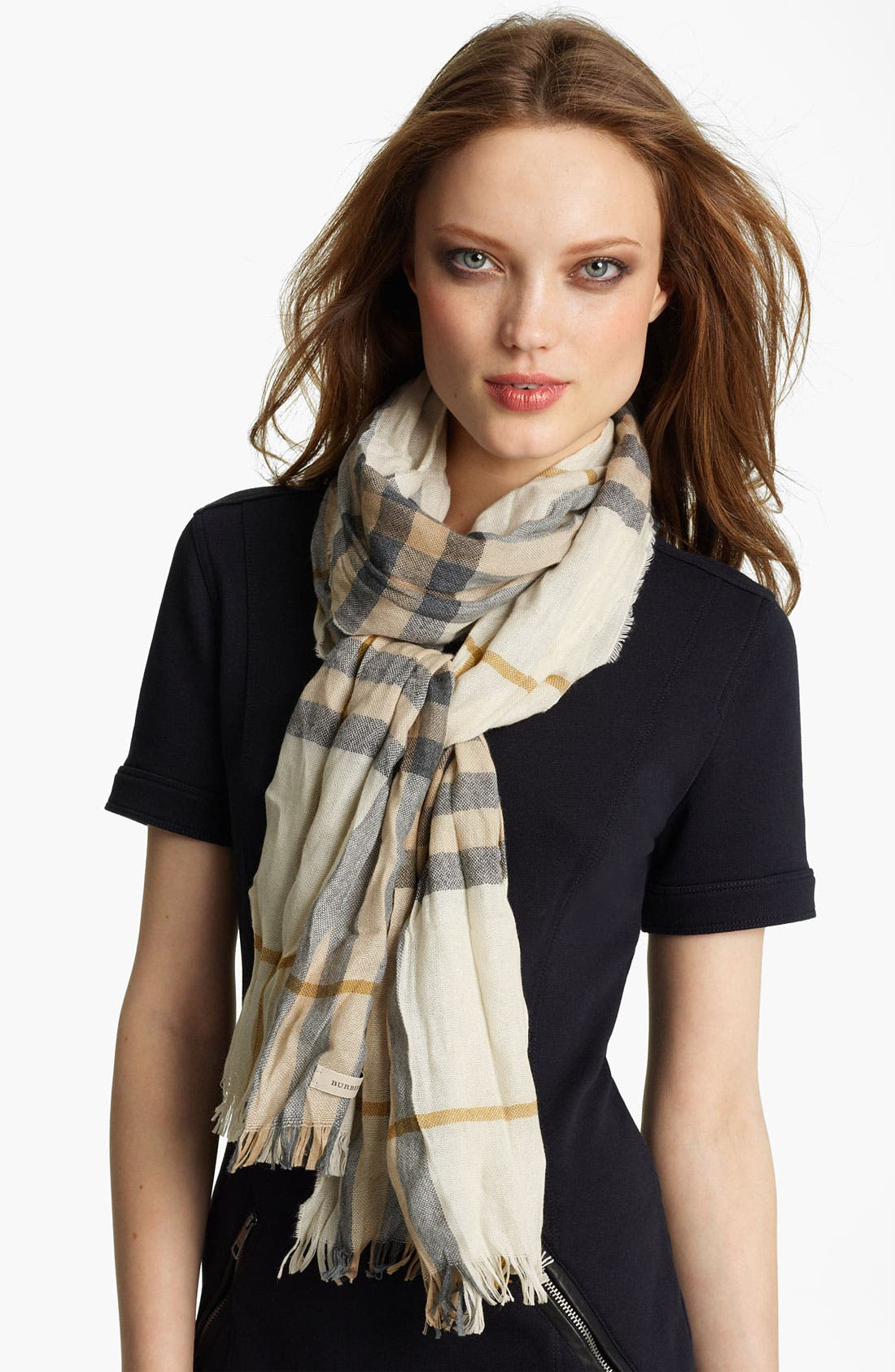 Alternate Image 1 Selected - Burberry Giant Check Crinkled Scarf