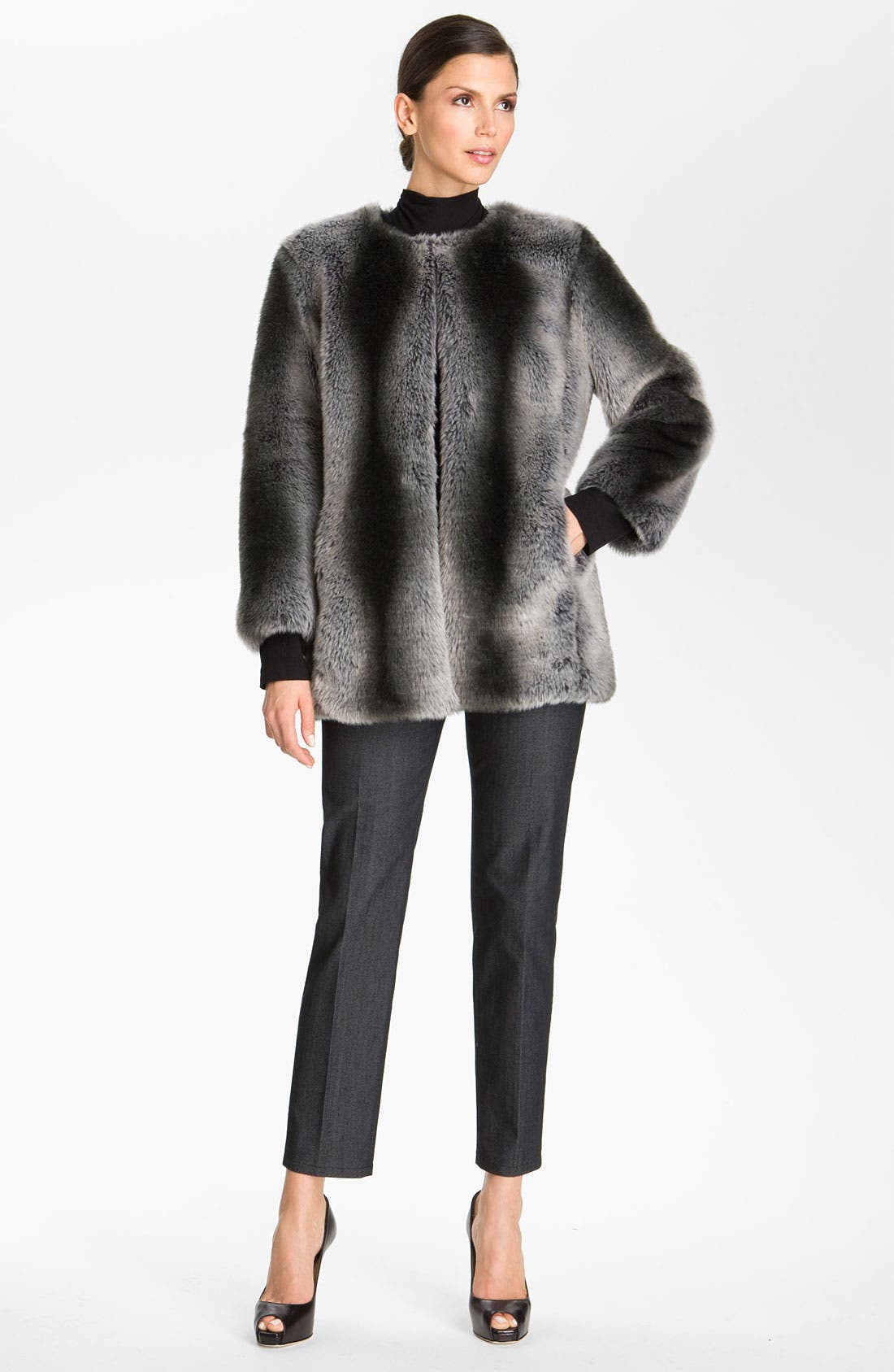 Alternate Image 1 Selected - St. John Collection Faux Fur Coat (Nordstrom Exclusive)