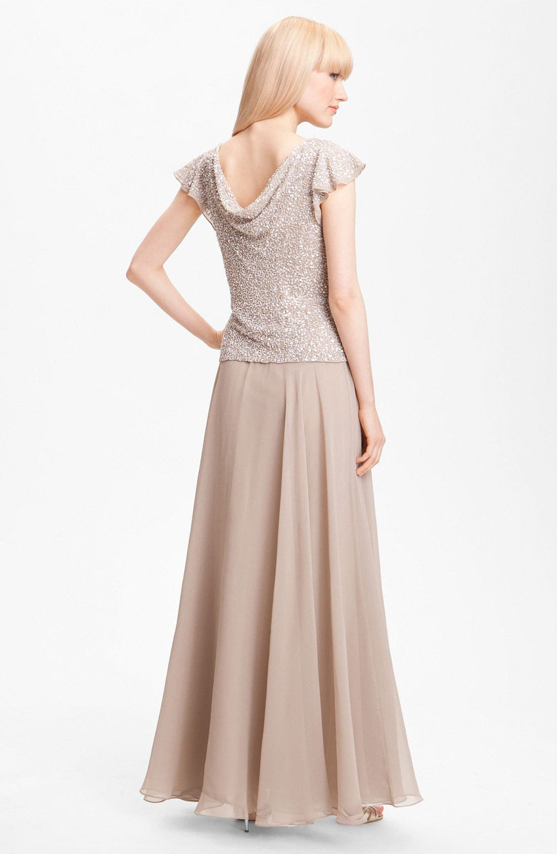 Alternate Image 2  - J Kara Sequin Flutter Sleeve Bodice Chiffon Gown