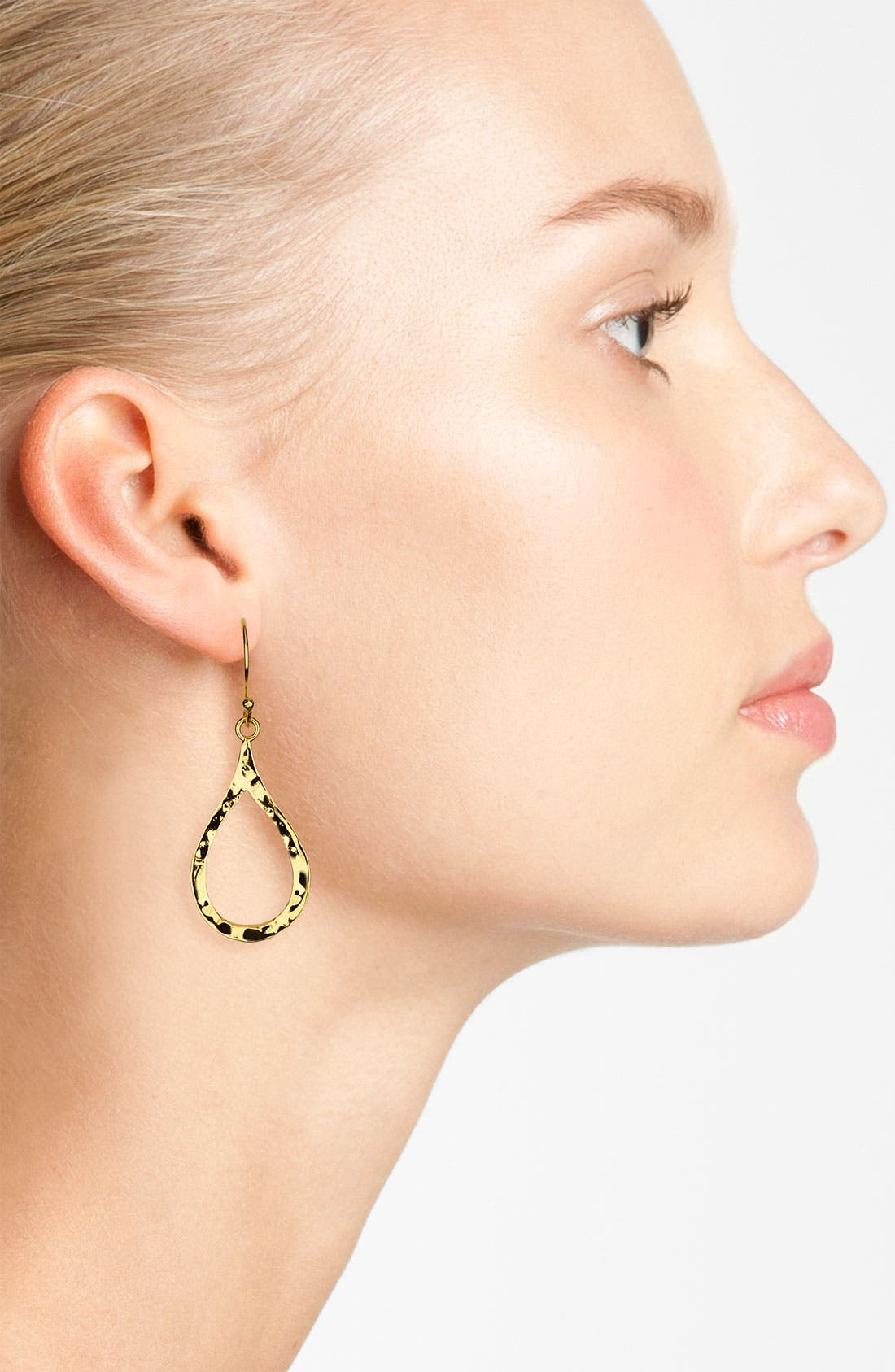 Alternate Image 2  - Argento Vivo Small Hammered Open Teardrop Earrings