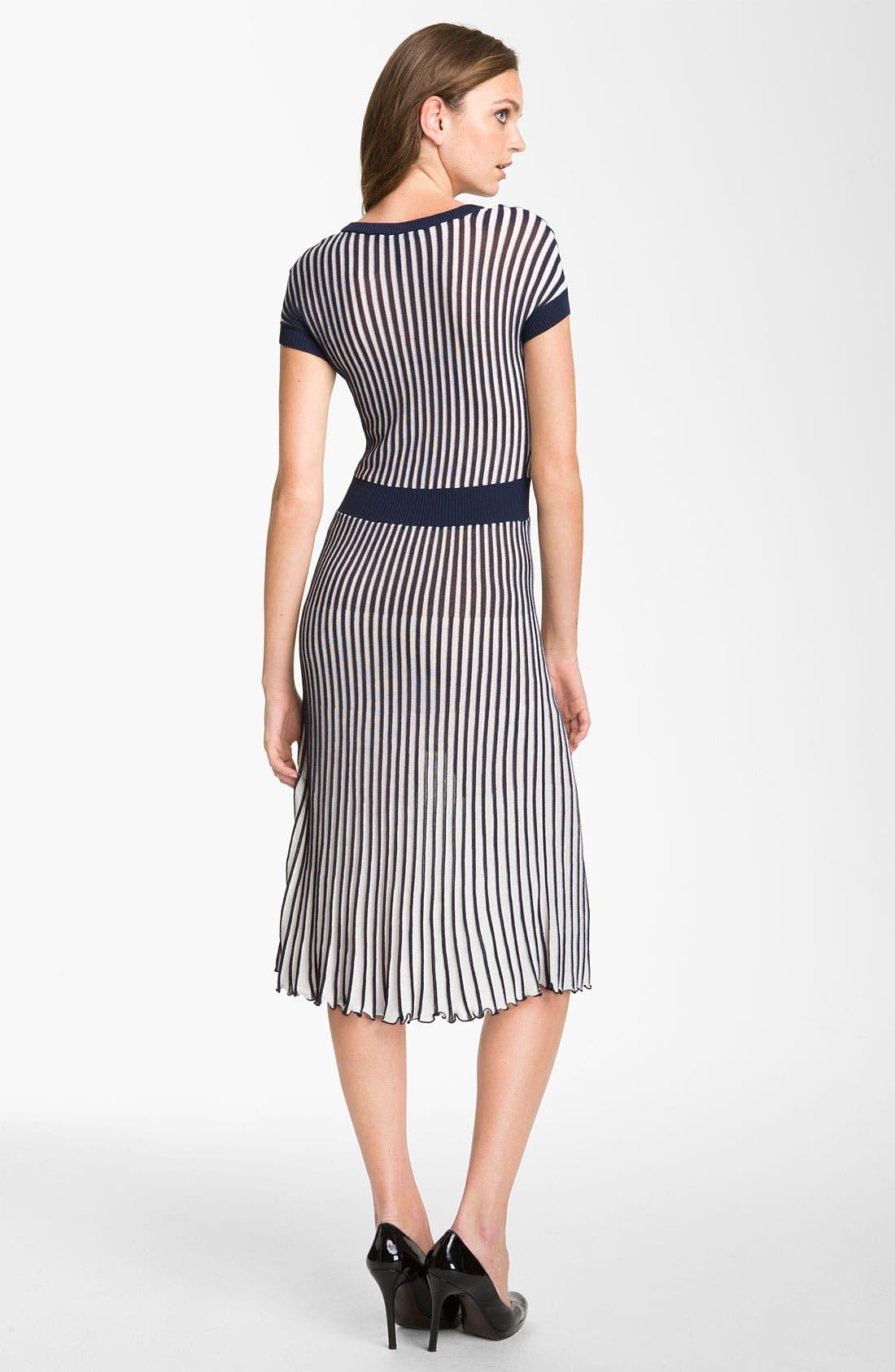 Alternate Image 2  - BCBGMAXAZRIA Pleated V-Neck Sweater Dress
