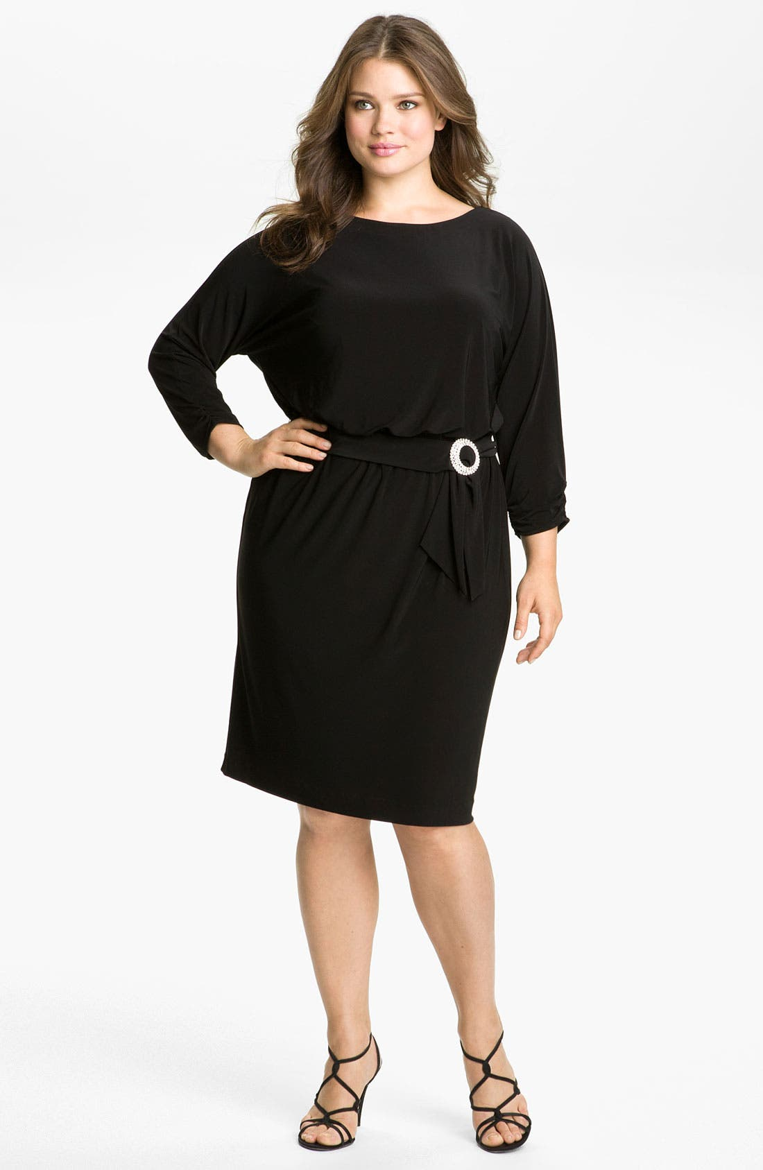 Main Image - Alex Evenings Belted Blouson Jersey Dress (Plus)