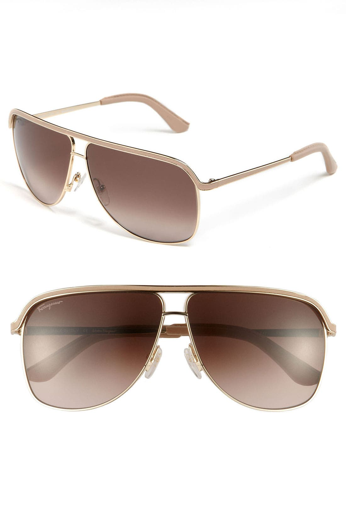 Main Image - Salvatore Ferragamo 62mm Aviator Sunglasses