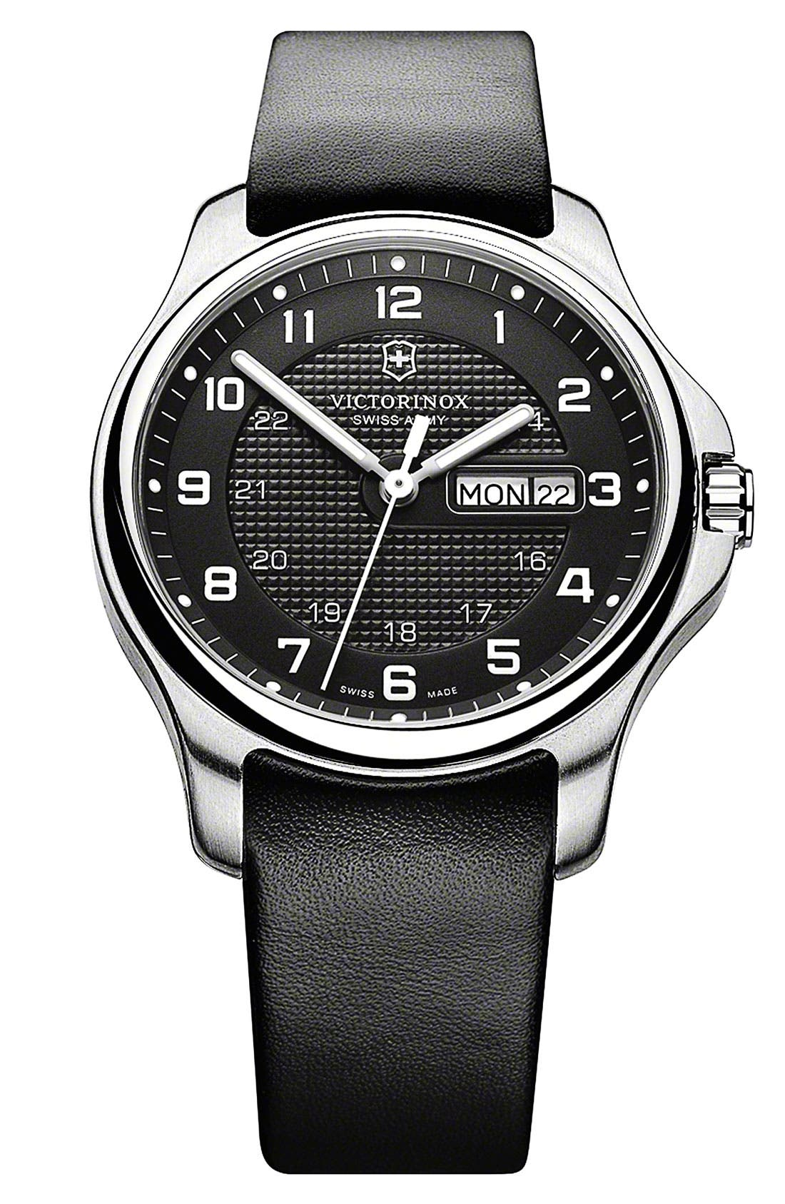 Alternate Image 1 Selected - Victorinox Swiss Army® 'Officer's' Round Leather Strap Watch, 40mm