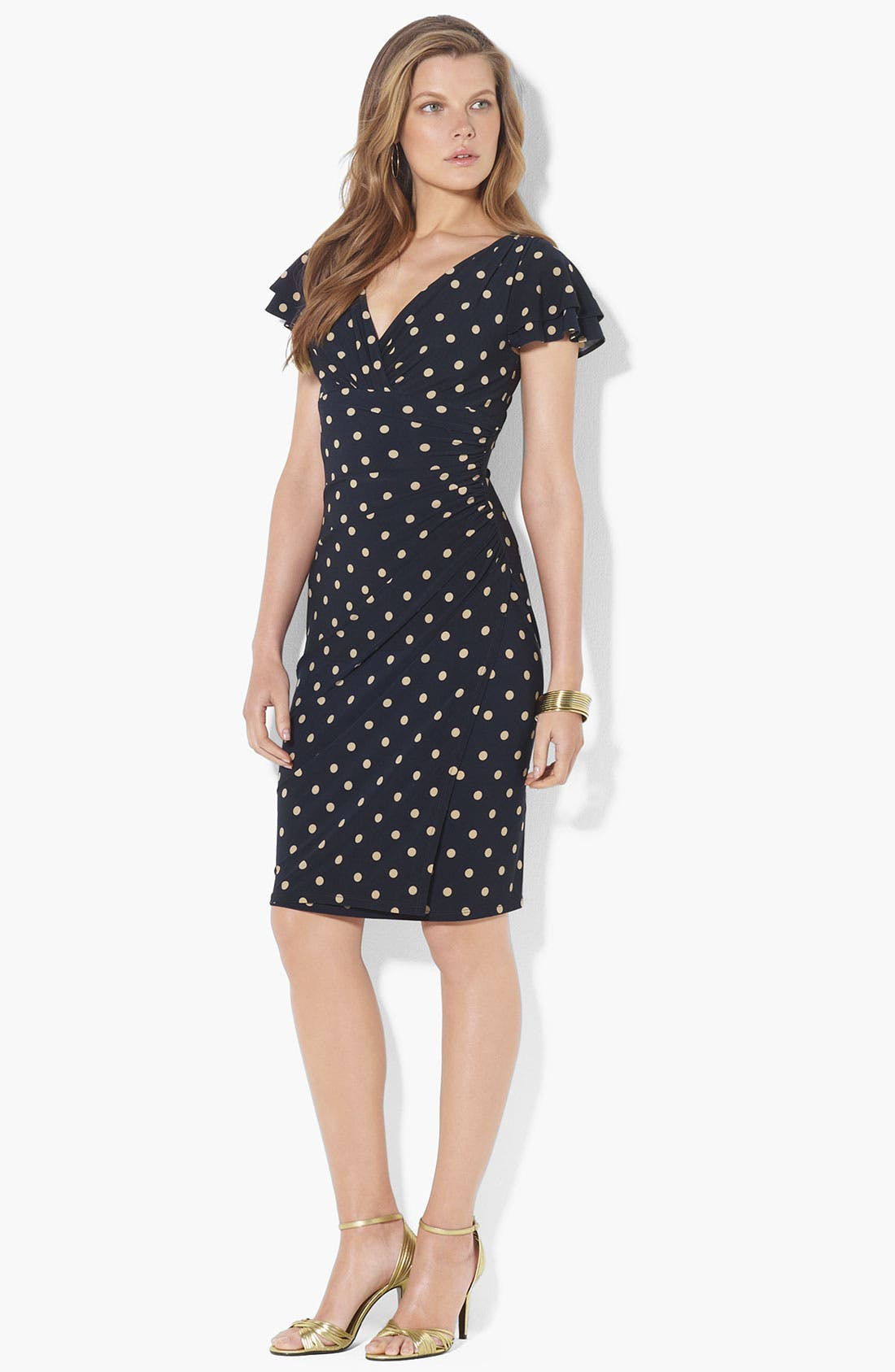 Main Image - Lauren Ralph Lauren Polka Dot Flutter Sleeve Jersey Dress