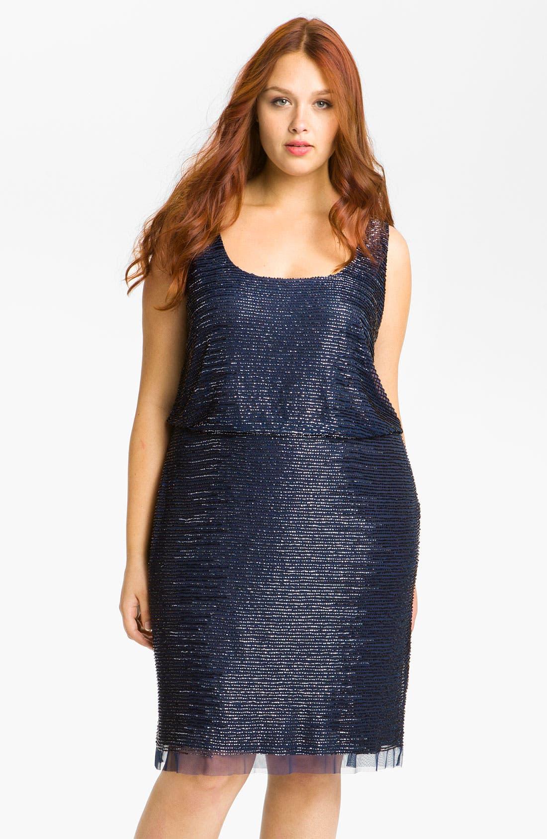 Alternate Image 1 Selected - Adrianna Papell Beaded Blouson Dress (Plus)