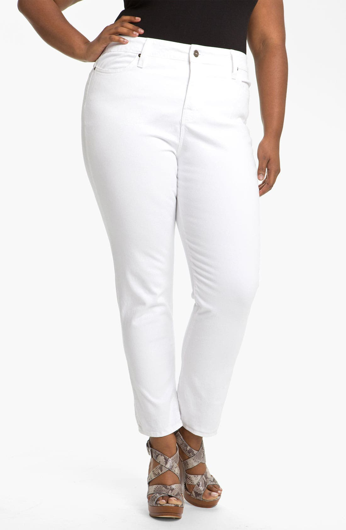 Alternate Image 2  - Blue Essence Colored Twill Skinny Jeans (Plus)