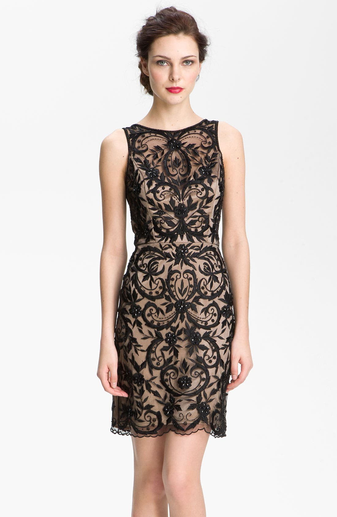 Alternate Image 1 Selected - Sue Wong Embroidered Overlay V-Back Sheath Dress