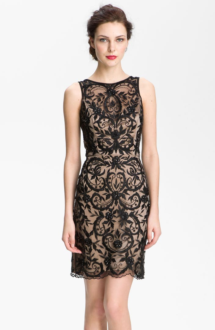Sue Wong Embroidered Overlay V Back Sheath Dress Nordstrom