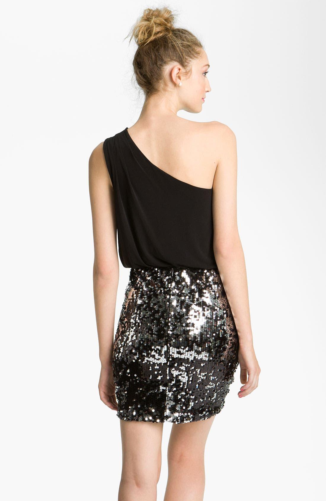 Alternate Image 2  - Way-In Sequin Skirt One Shoulder Dress (Juniors)
