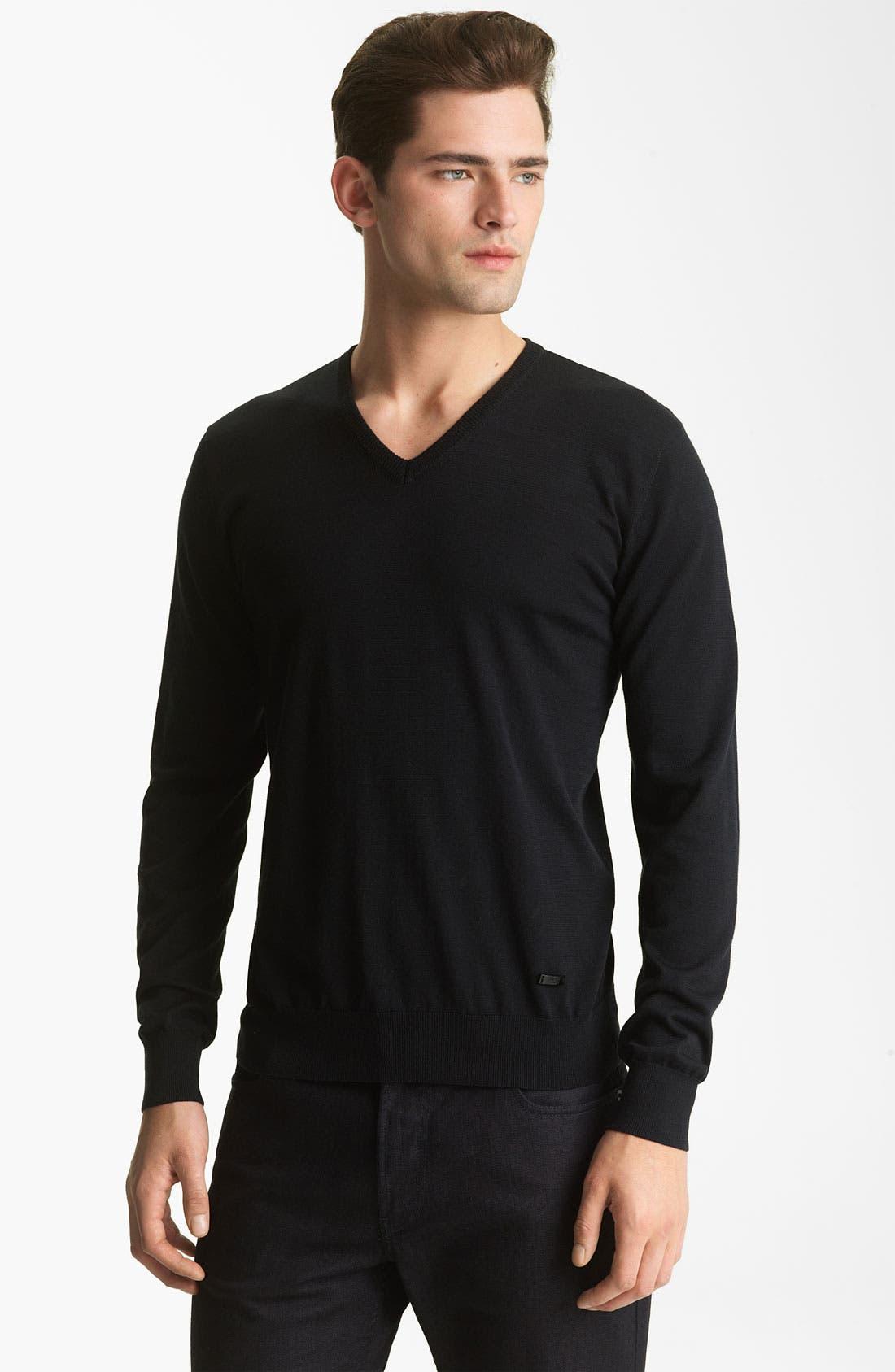Main Image - Armani Collezioni V-Neck Silk & Cotton Sweater