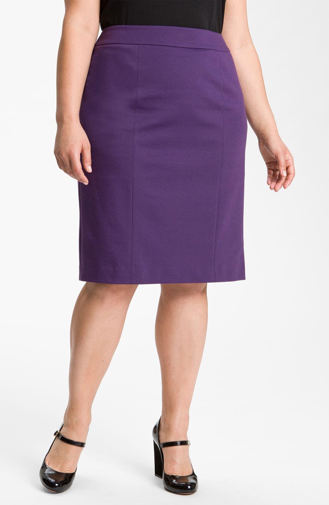 Main Image - Sejour Ponte Knit Skirt (Plus)
