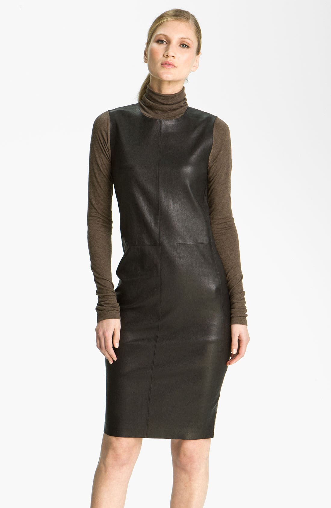 Alternate Image 1 Selected - Vince Stretch Leather Sheath Dress