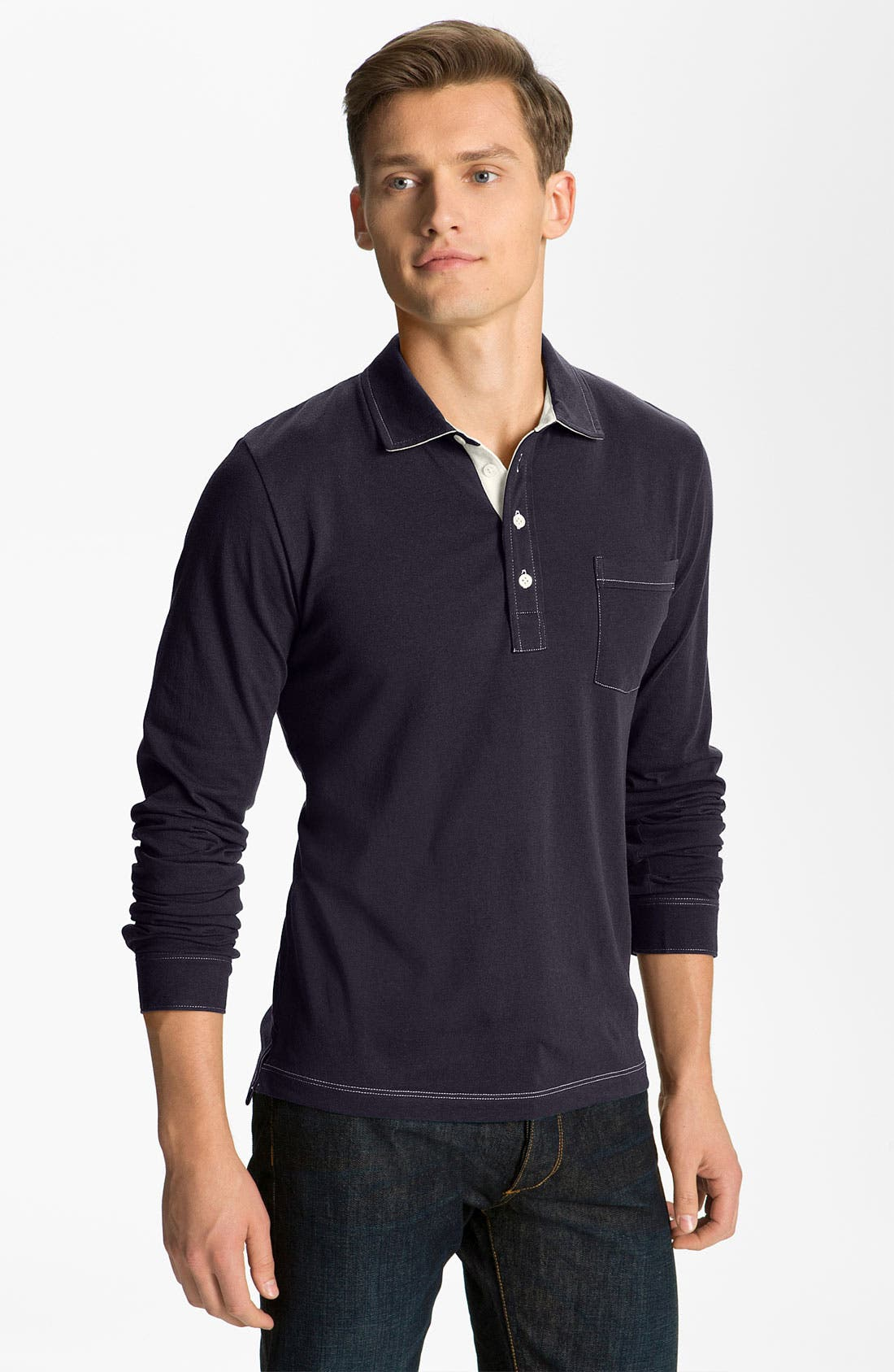 Alternate Image 1 Selected - Billy Reid 'Pensacola' Long Sleeve Polo