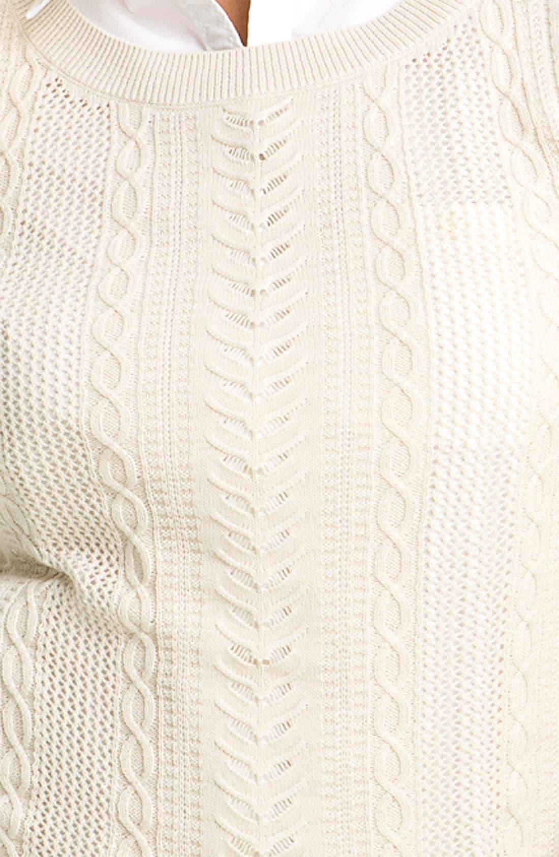 Alternate Image 3  - BP. Sheer Cable Knit Sweater (Juniors)
