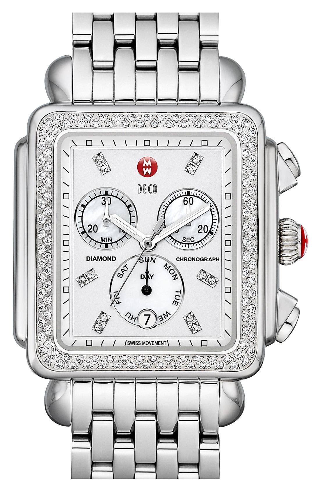 Alternate Image 3  - MICHELE 'Deco XL Diamond' Diamond Dial Watch Case, 37mm x 38mm