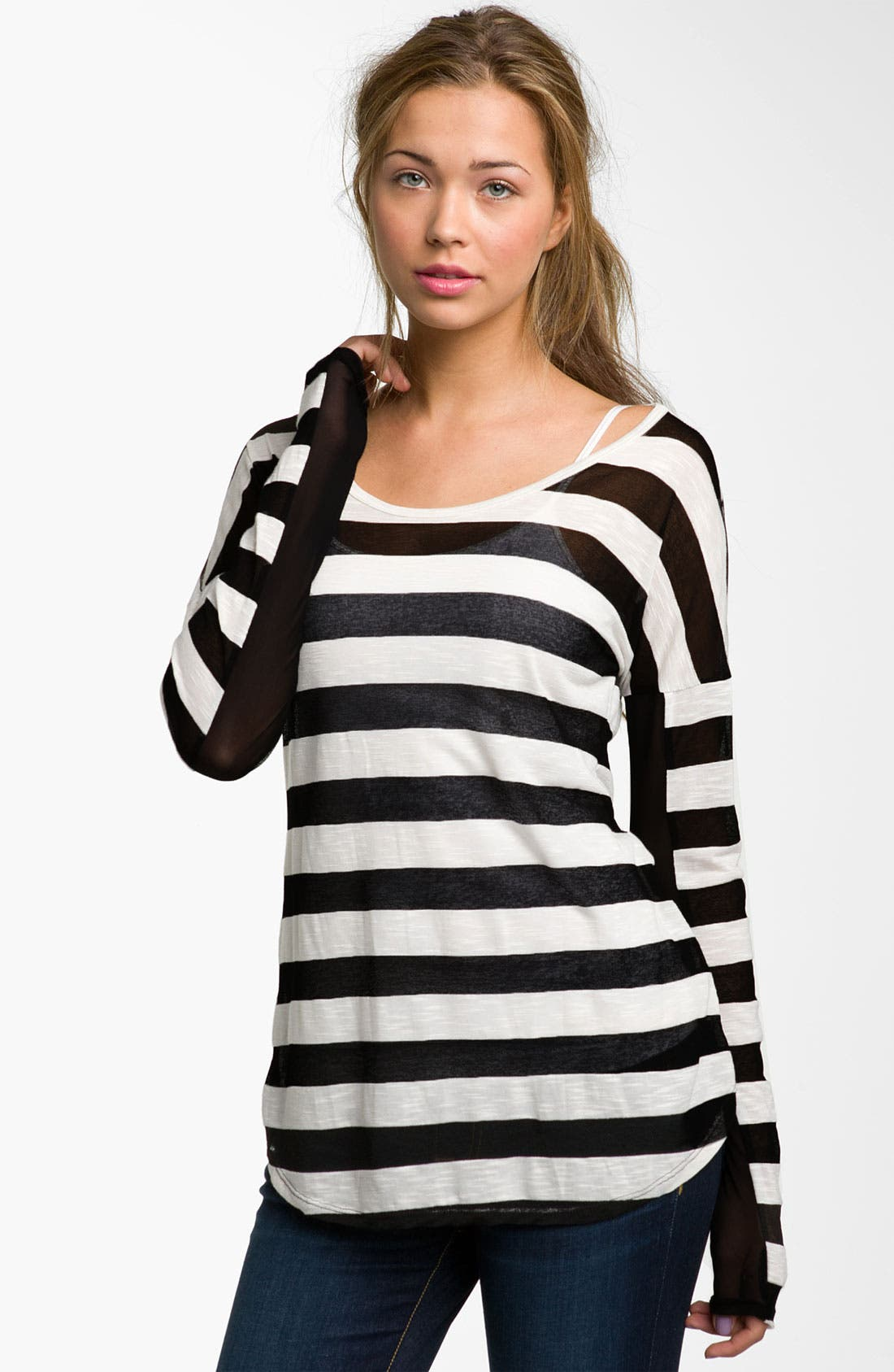 Main Image - Painted Threads Burnout Stripe Tee (Juniors)