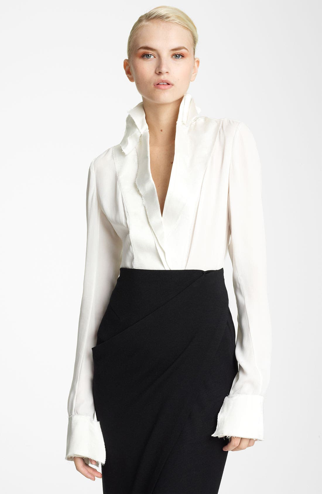 Donna Karan Collection Satin Amp Featherweight Crepe Blouse