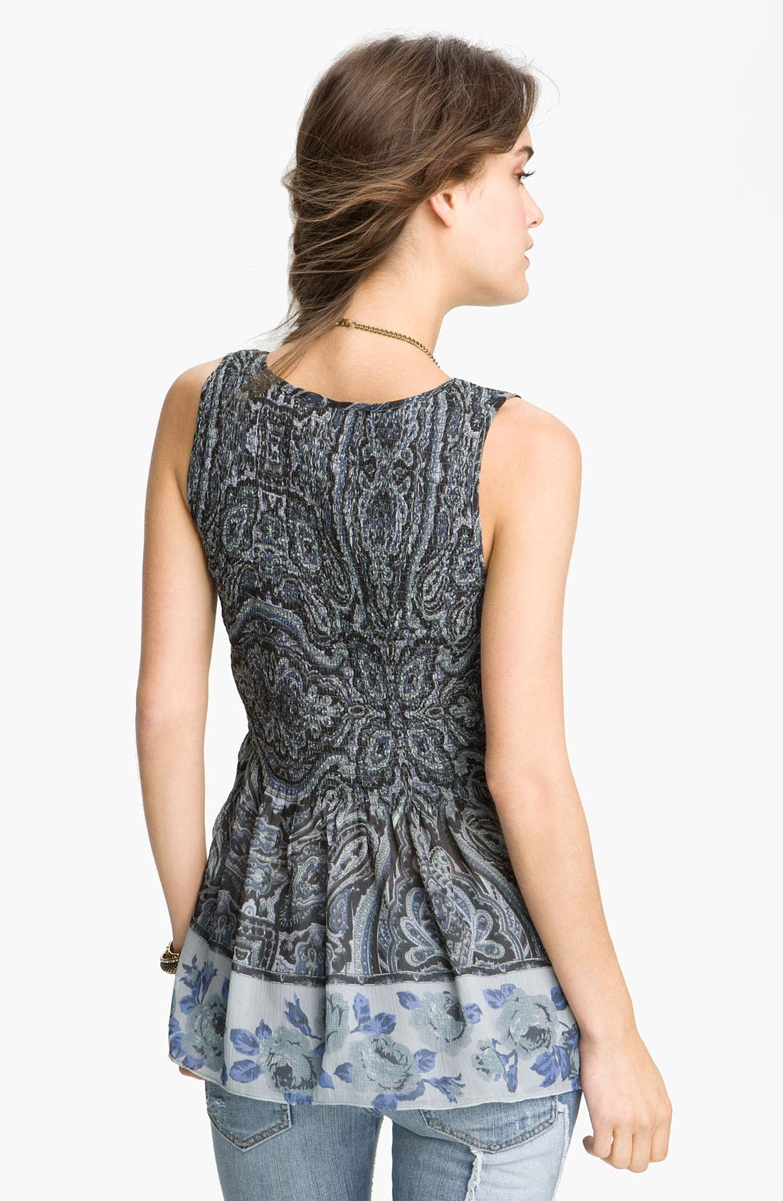 Alternate Image 2  - Free People Print Smocked Border Top