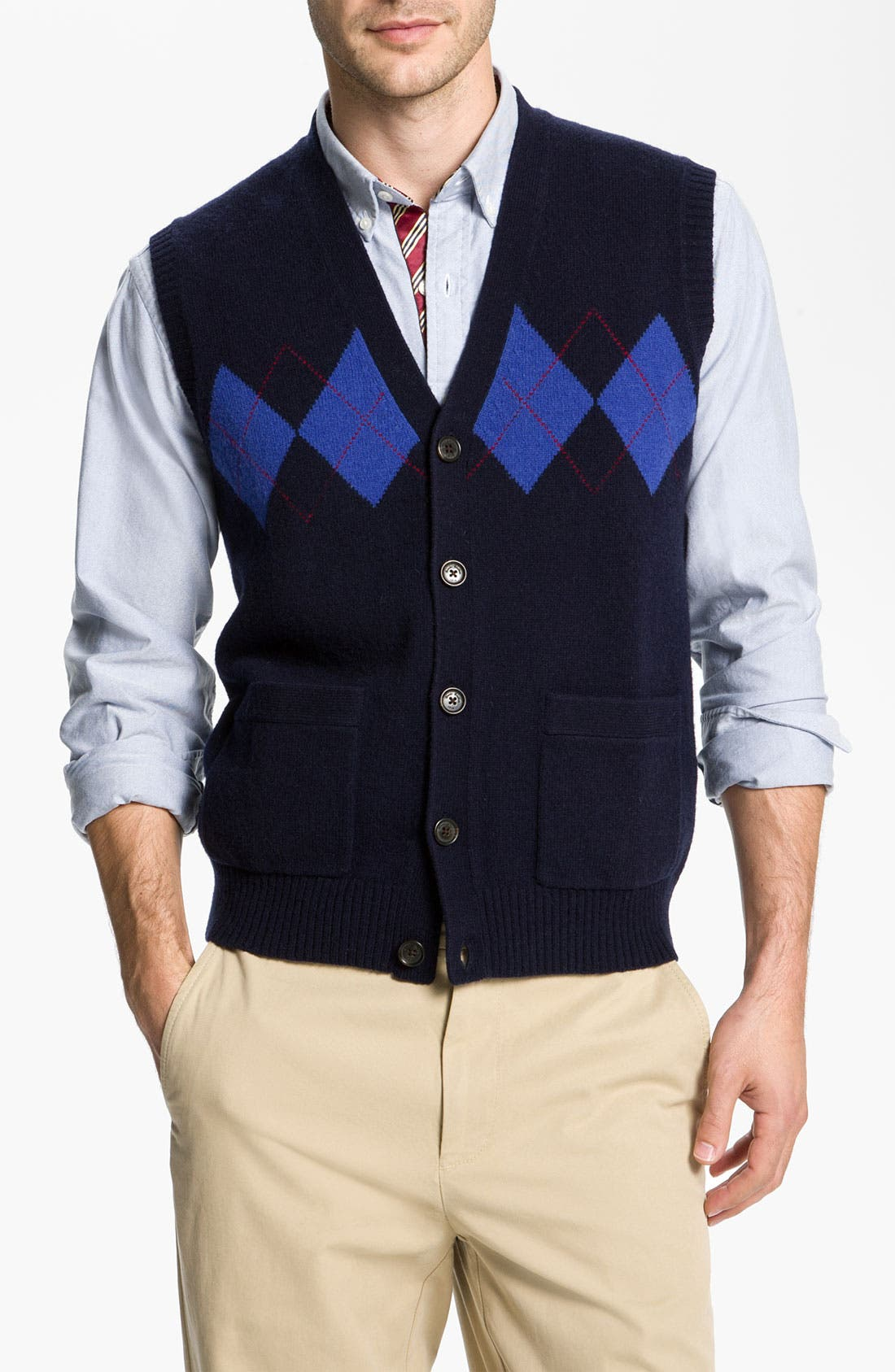 Main Image - Brooks Brothers Lambswool Cardigan Vest