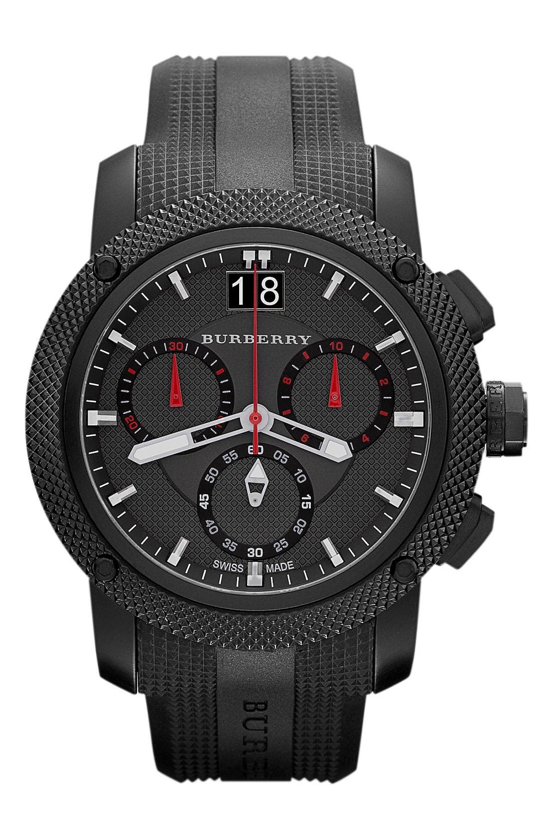 Alternate Image 1 Selected - Burberry Chronograph Rubber Strap Watch